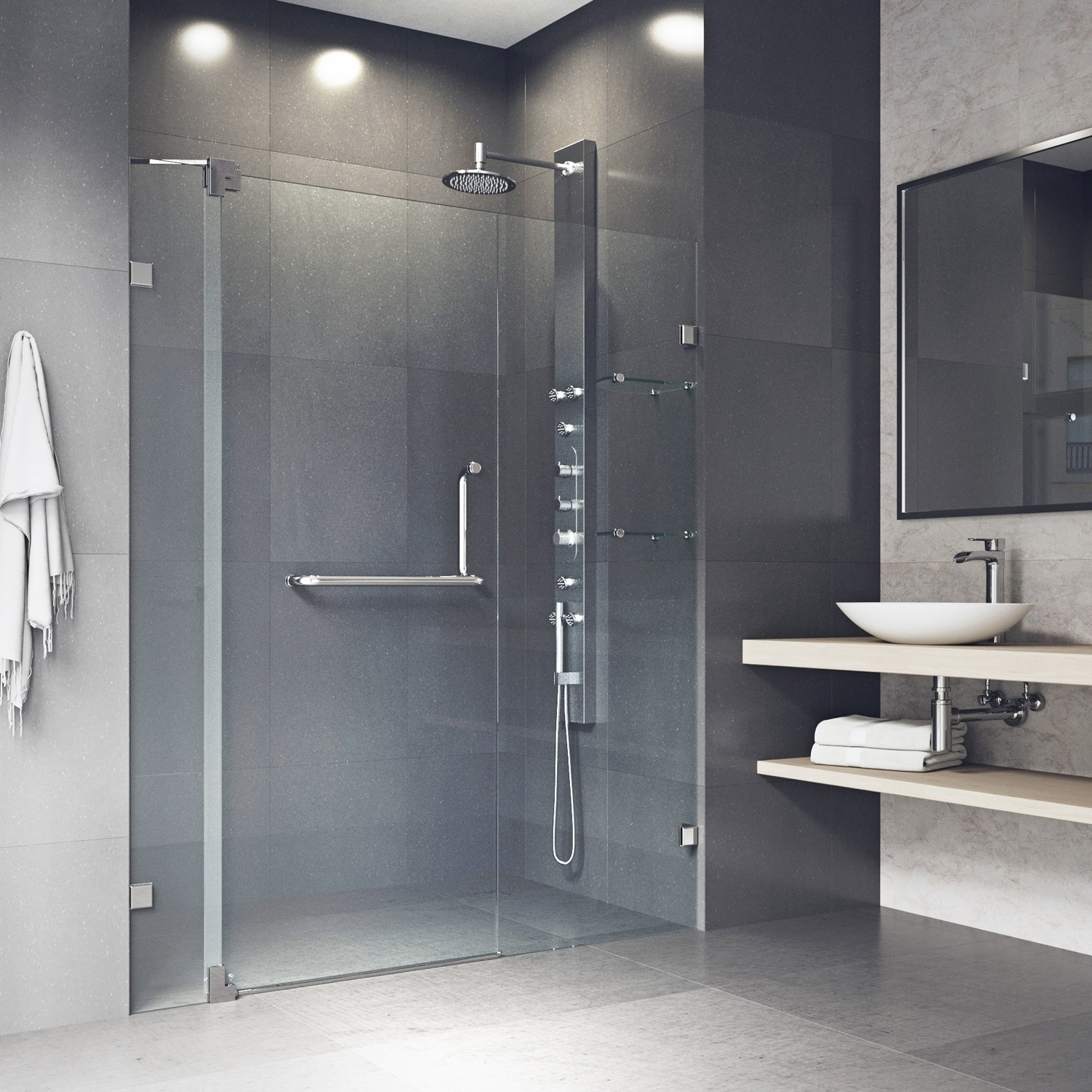 Shop Vigo Pirouette Adjustable Frameless Pivot Shower Door On Sale