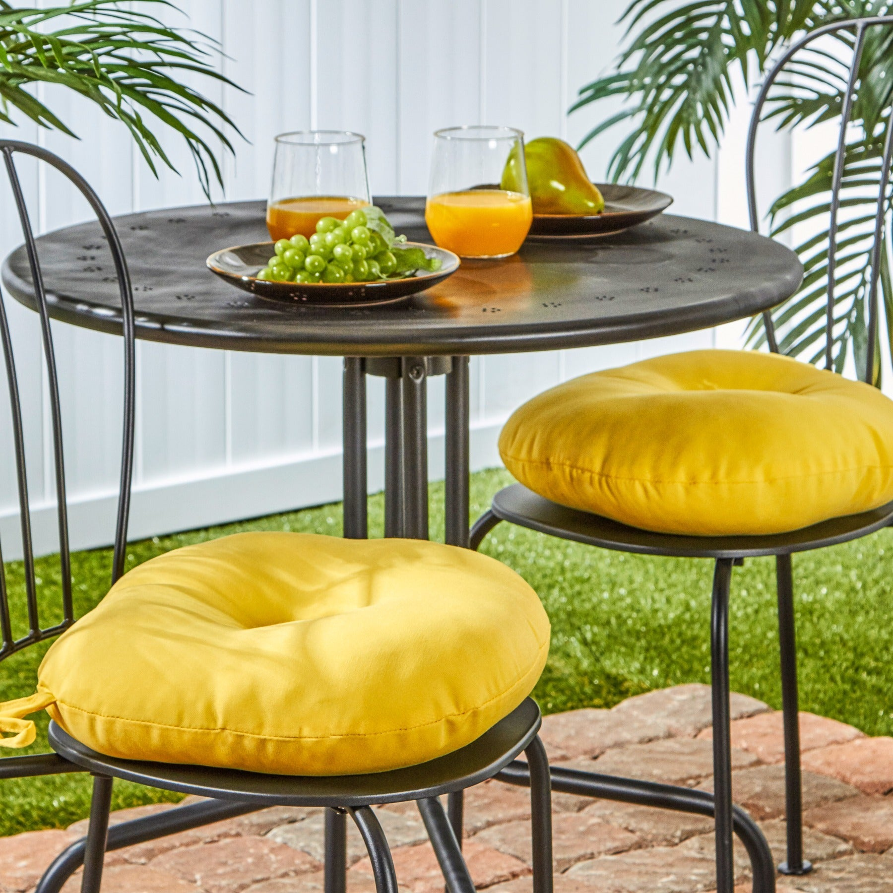 Havenside Home Driftwood 15 Inch Round Outdoor Yellow Bistro Chair Cushions Set Of 2