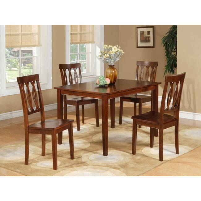 Espresso 5 Piece Dining Table And Chairs Set