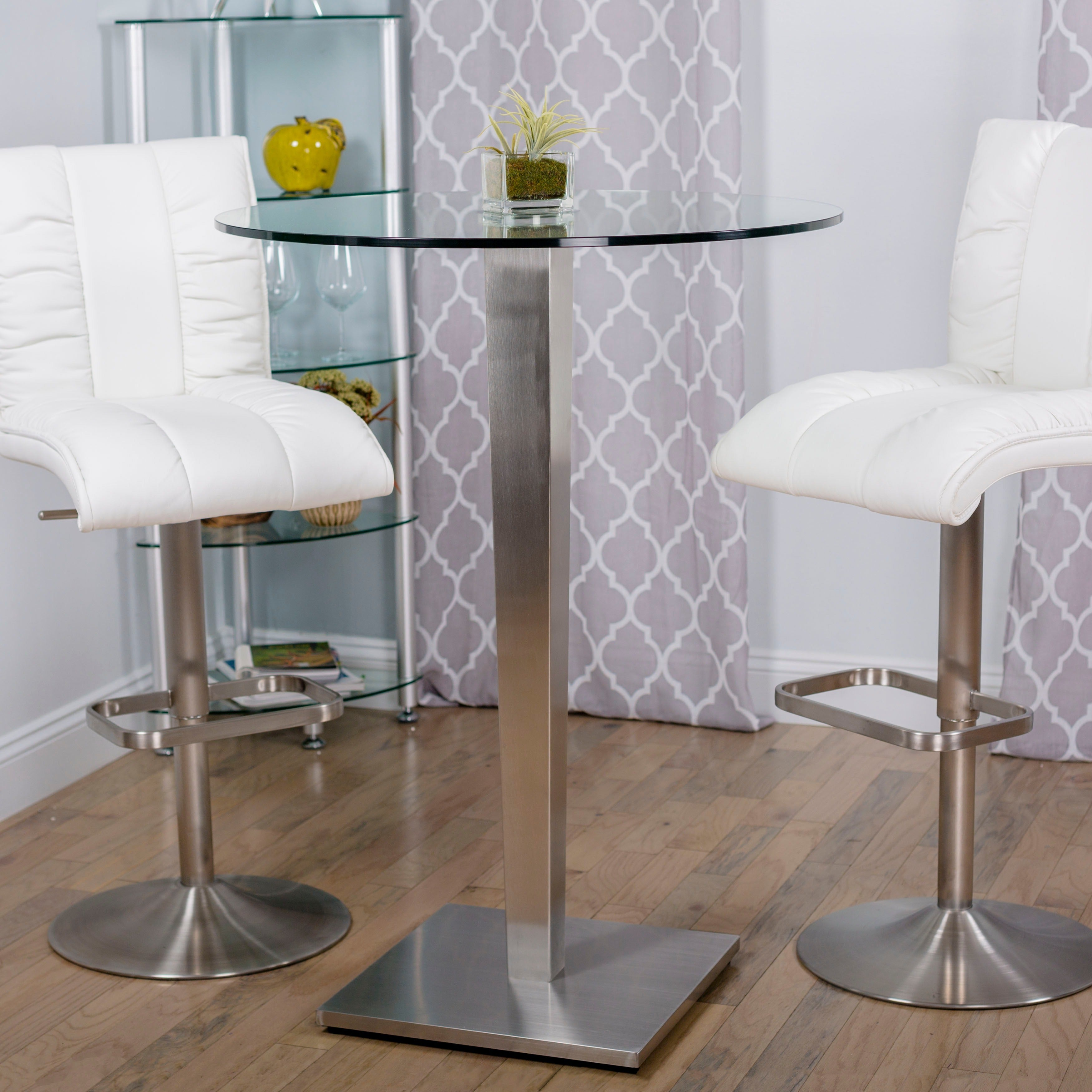 Beau Shop 32 Inch Round Glass Brushed Stainless Steel Pub Table   N/A   Free  Shipping Today   Overstock.com   6589535