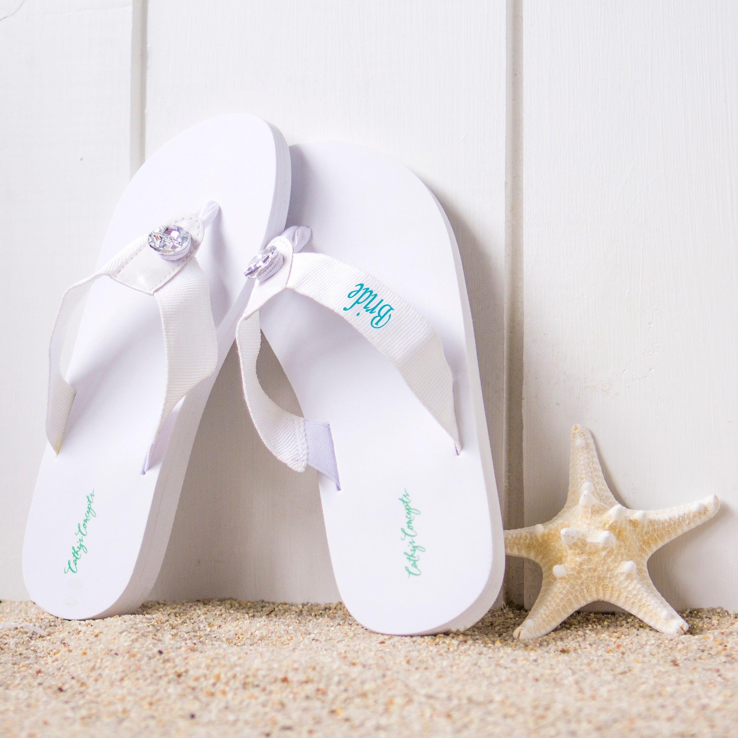 Shop Bride White Wedding Flip Flops Overstock 6590404