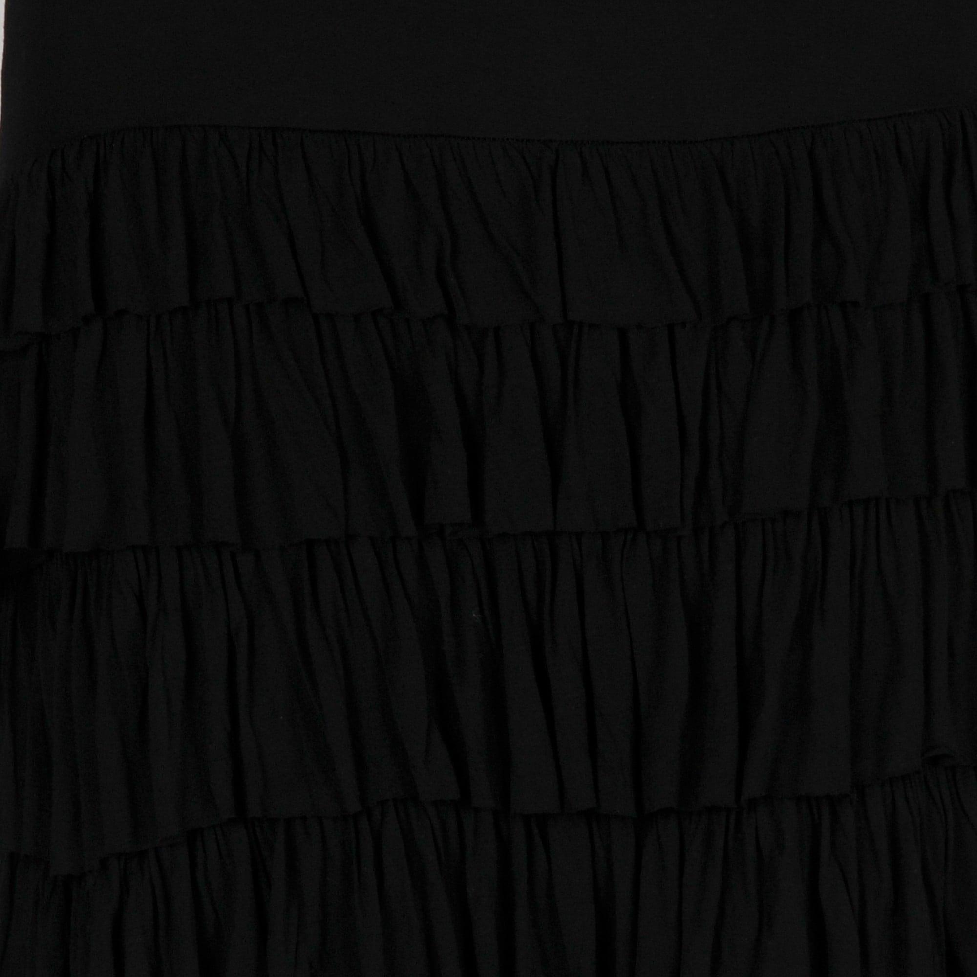 Sleeveless Ruffle Tiered Maxi Dress Black Women S