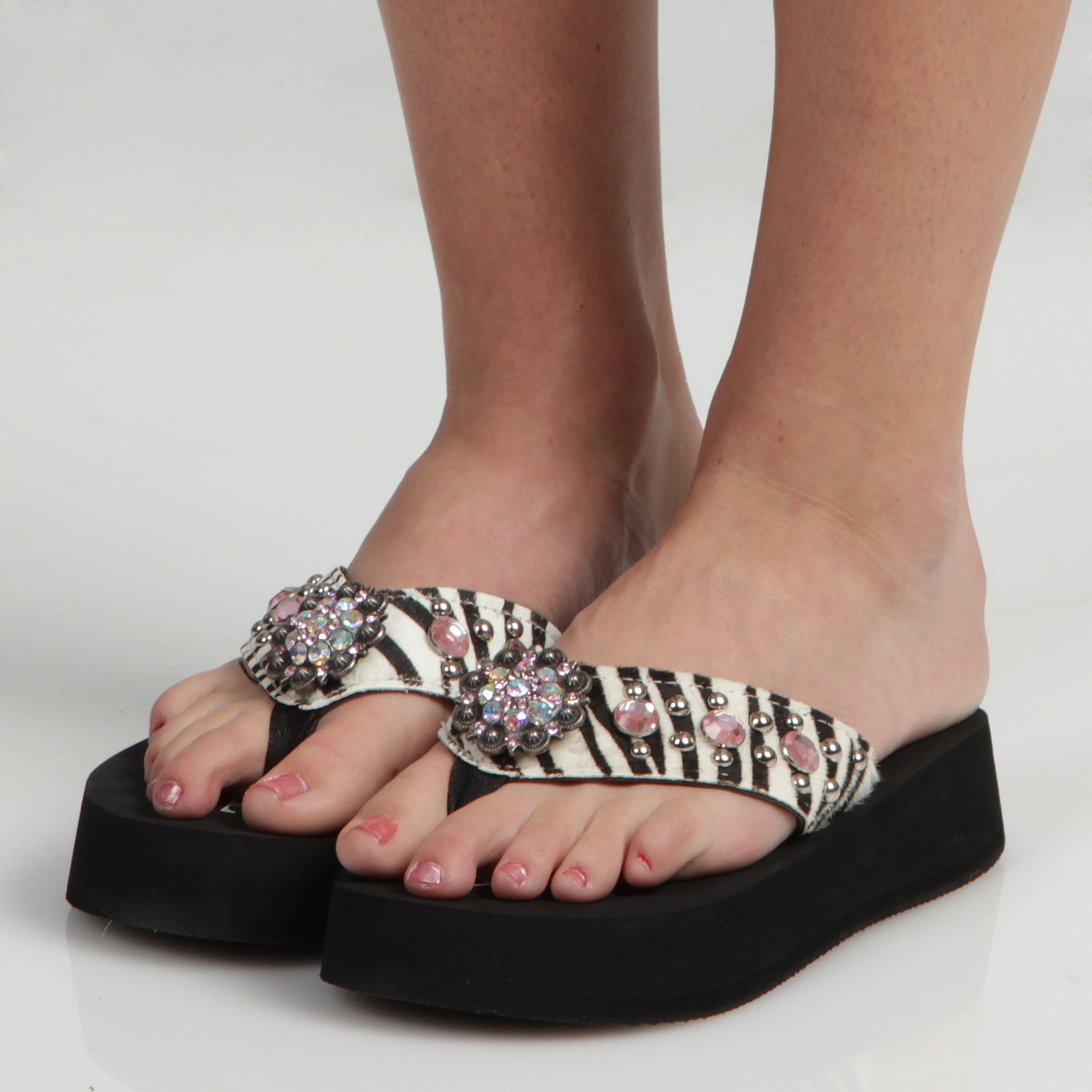 7dd7272f8 Shop Hidden Sole Women s Black Zebra Rhinestone Flip Flops - Free Shipping  Today - Overstock - 6602221