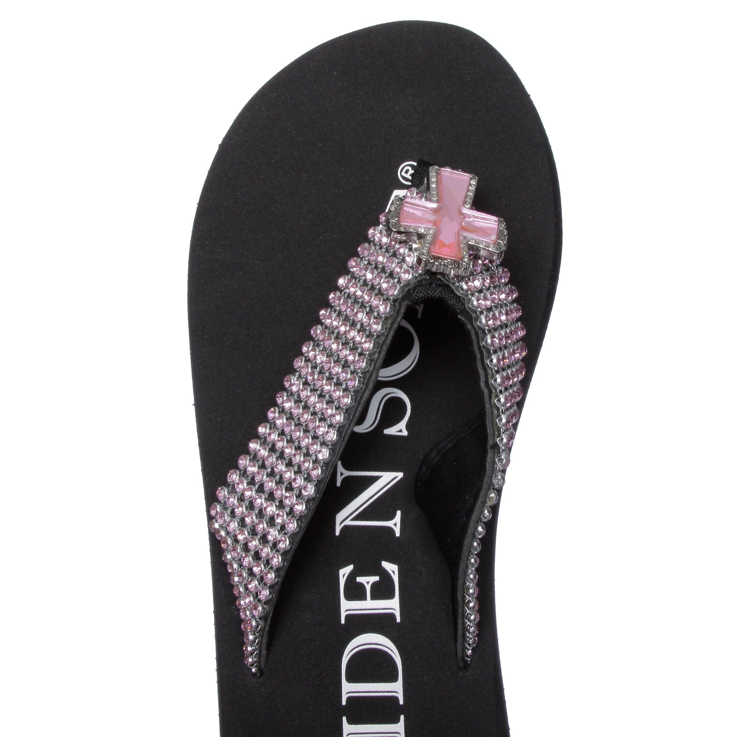 0ac0575c2 Shop Hidden Sole Women s Black Rhinestone Flip Flops - Free Shipping Today  - Overstock - 6602223