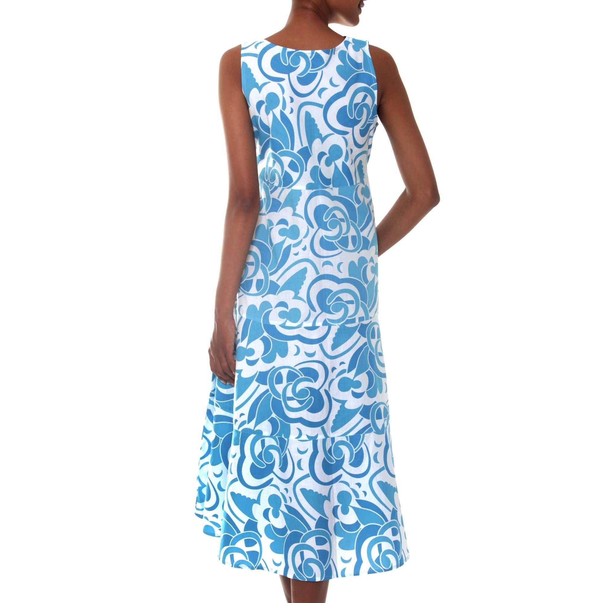 Shop Handmade Cotton \'Bali Blue\' Batik Dress Made In Indonesia - On ...