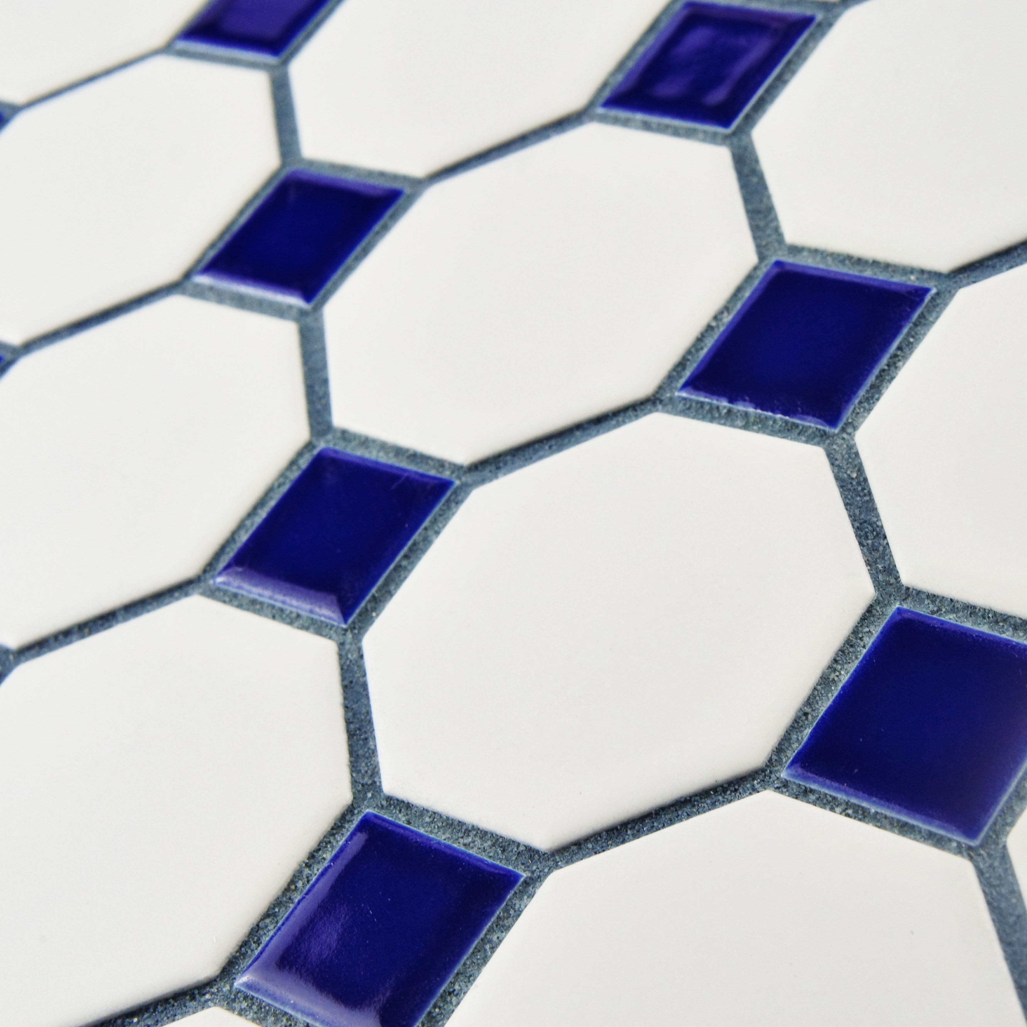 SomerTile 11 5x11 5 inch Victorian Octagon White and Cobalt