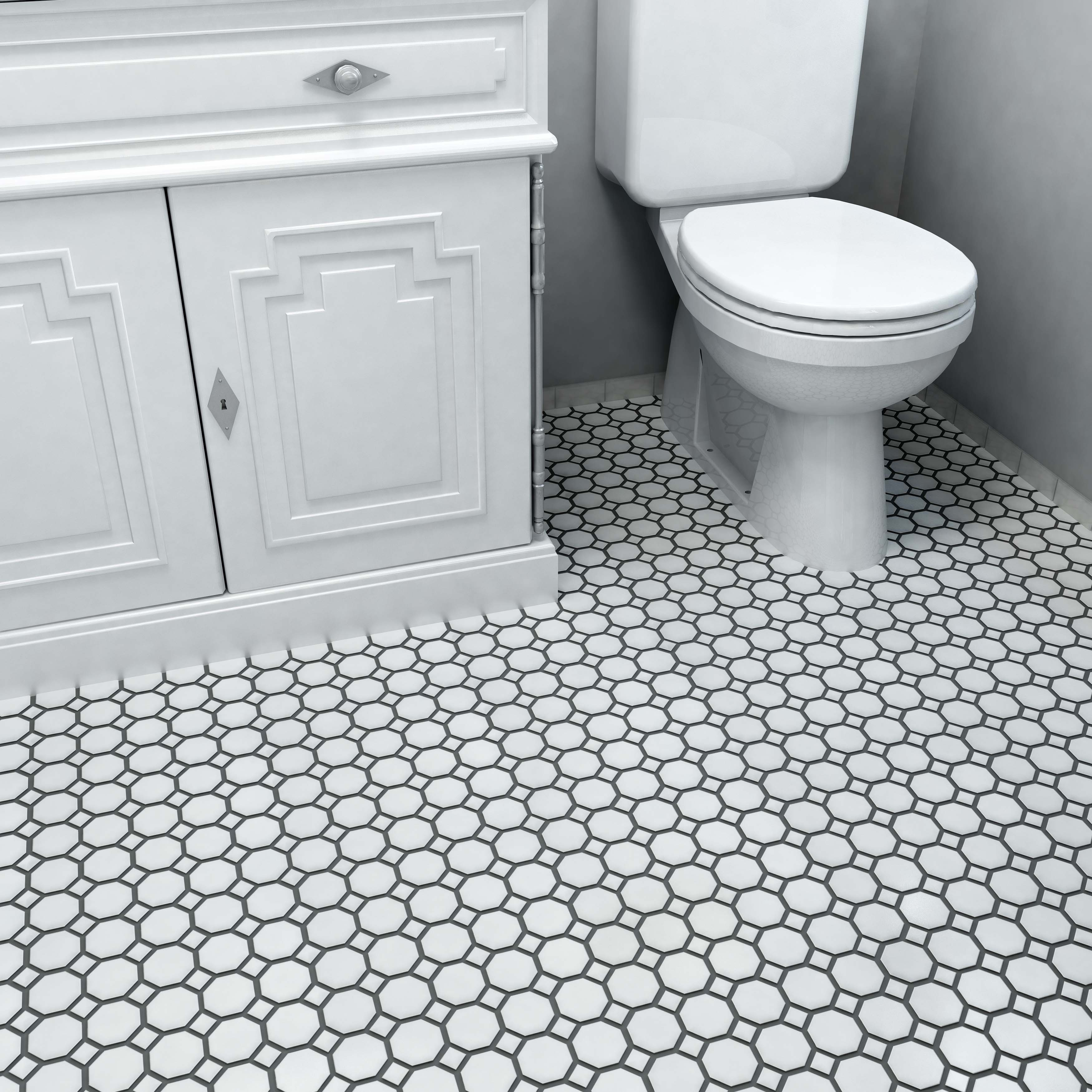 SomerTile 11.5x11.5-inch Victorian Octagon White with Dot Porcelain ...