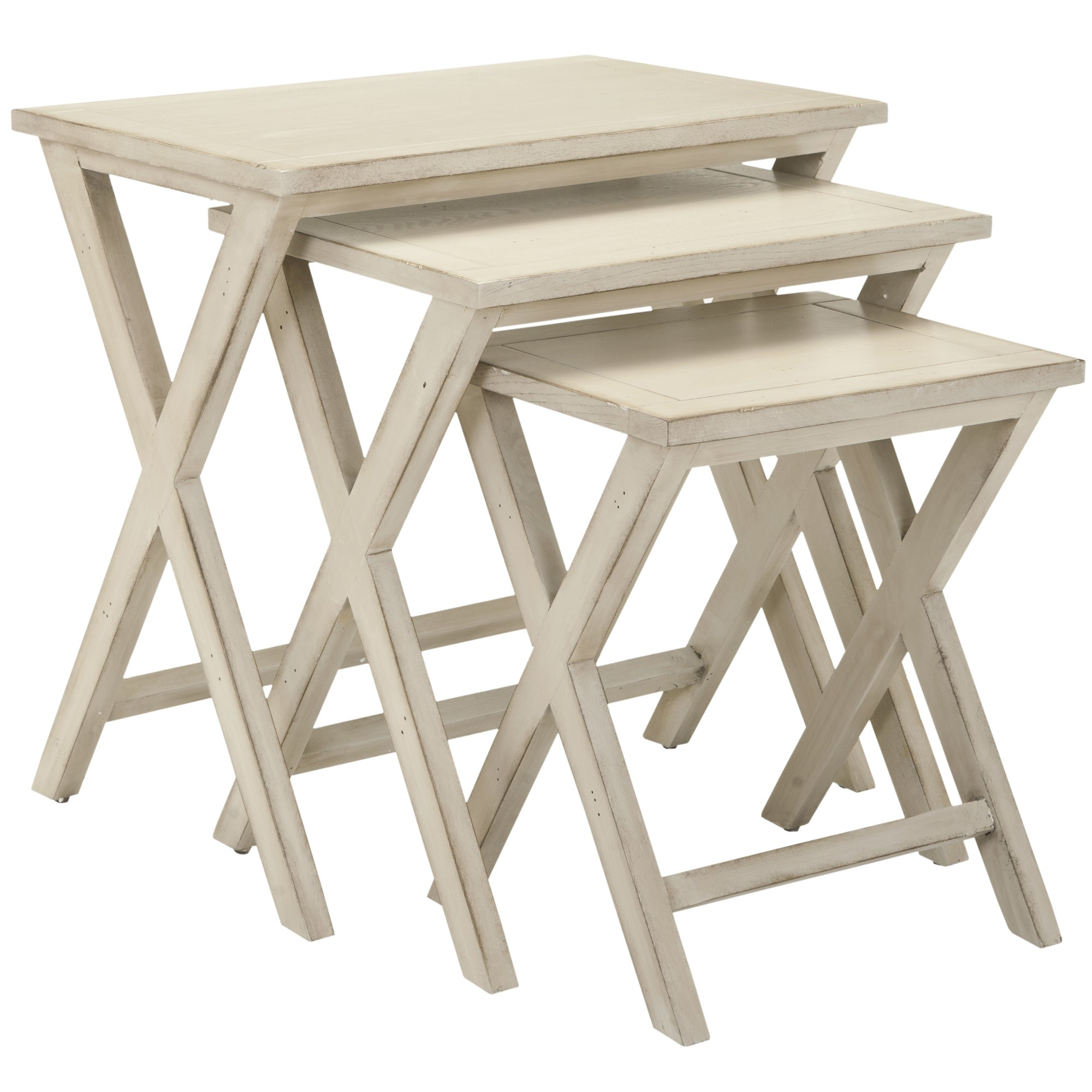 Shop Safavieh Sete Antiqued White Birch Nesting Tables (Set Of 3)   On Sale    Free Shipping Today   Overstock.com   6605278