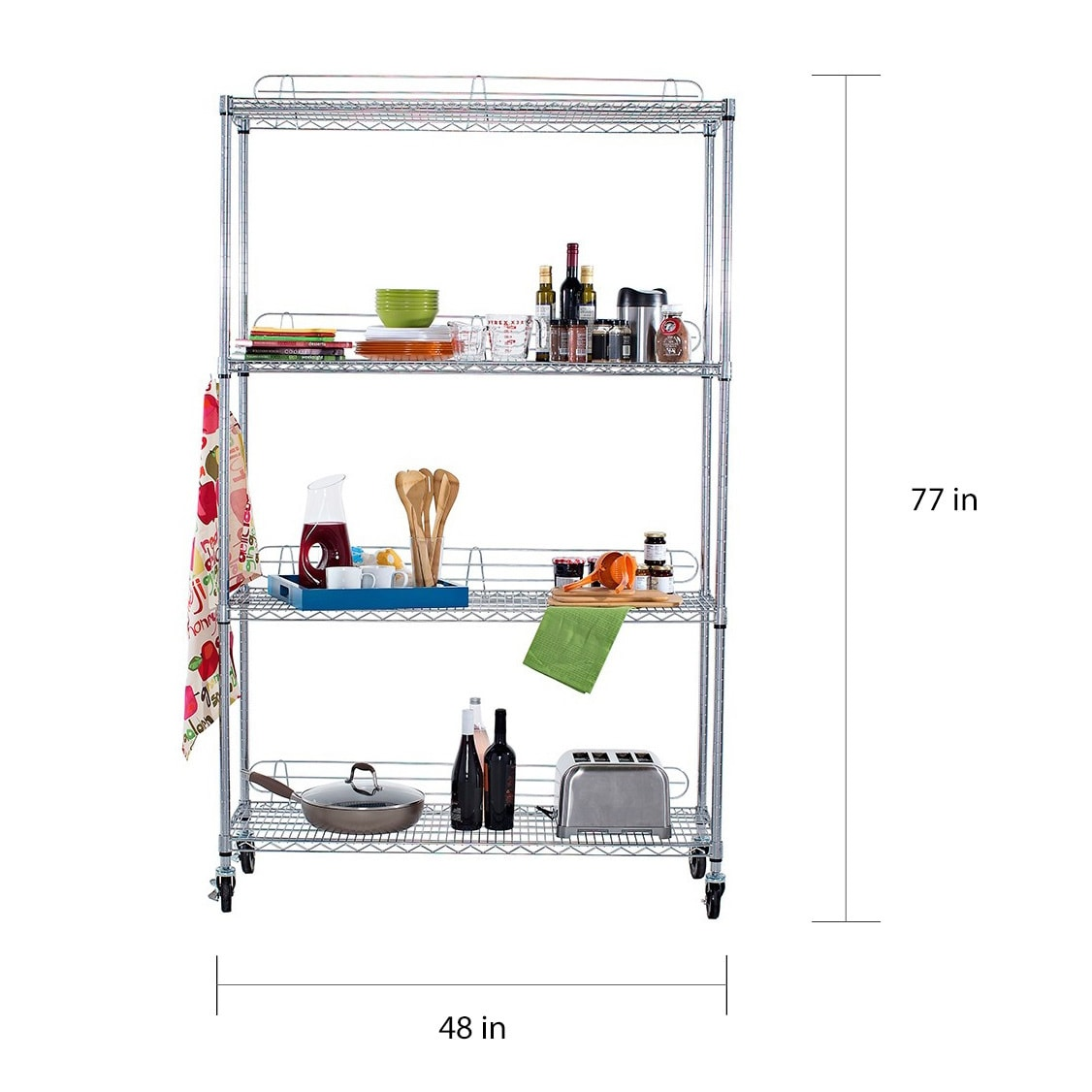 Trinity EcoStorage 4 Tier NSF Wire Shelving Rack With Wheels   Free  Shipping Today   Overstock   14179712