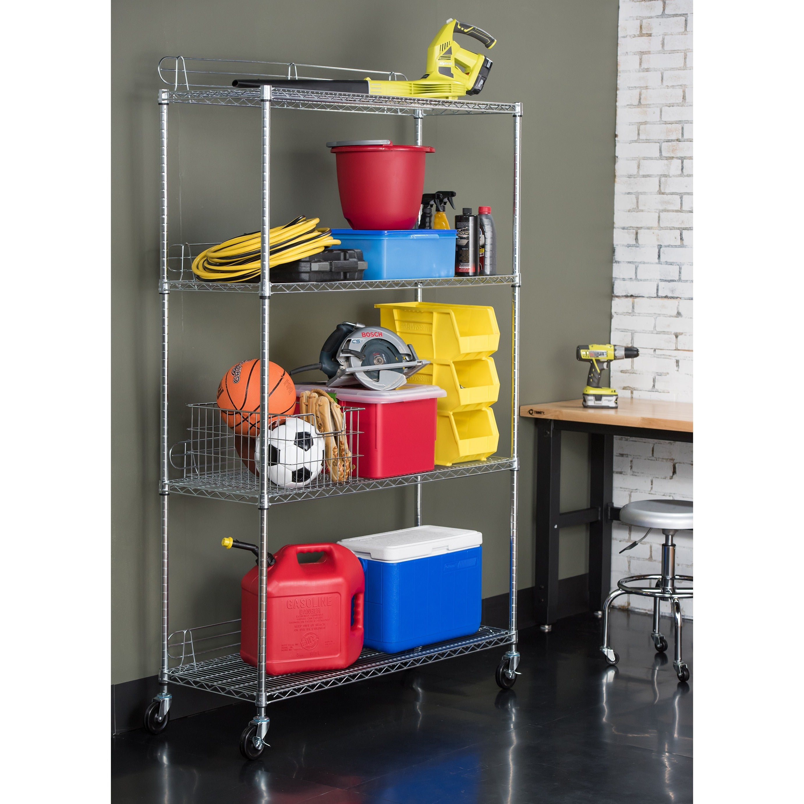 Genial Shop Trinity EcoStorage 4 Tier NSF Wire Shelving Rack With Wheels   Free  Shipping Today   Overstock.com   6610658