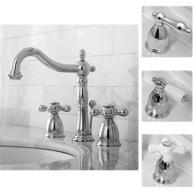 shop victorian chrome widespread bathroom faucet free shipping rh overstock com chrome bathroom faucet with cross handles chrome bathroom faucet with white handles