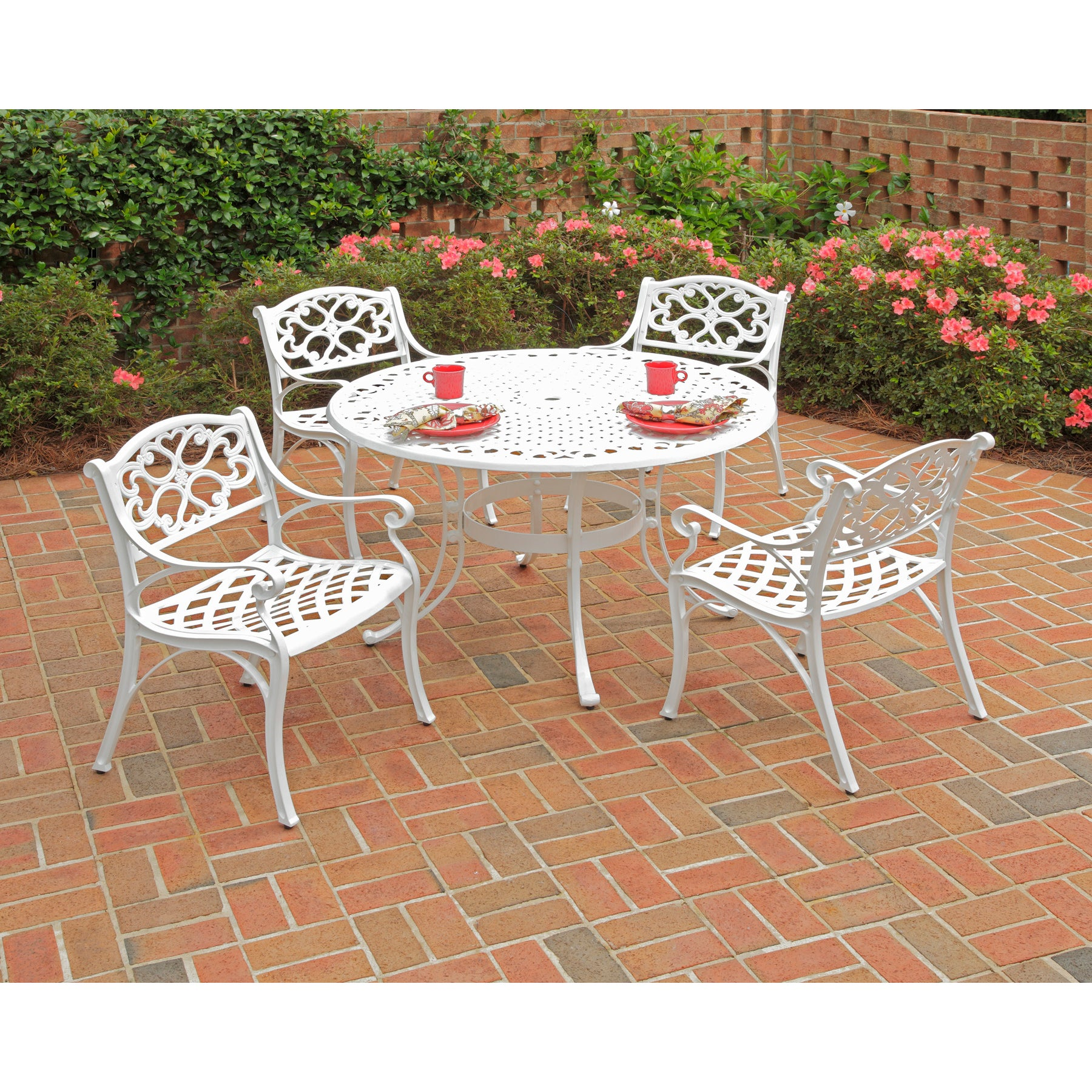 Shop biscayne 48 inch 5 piece white cast aluminum patio dining set by home styles free shipping today overstock 6614286