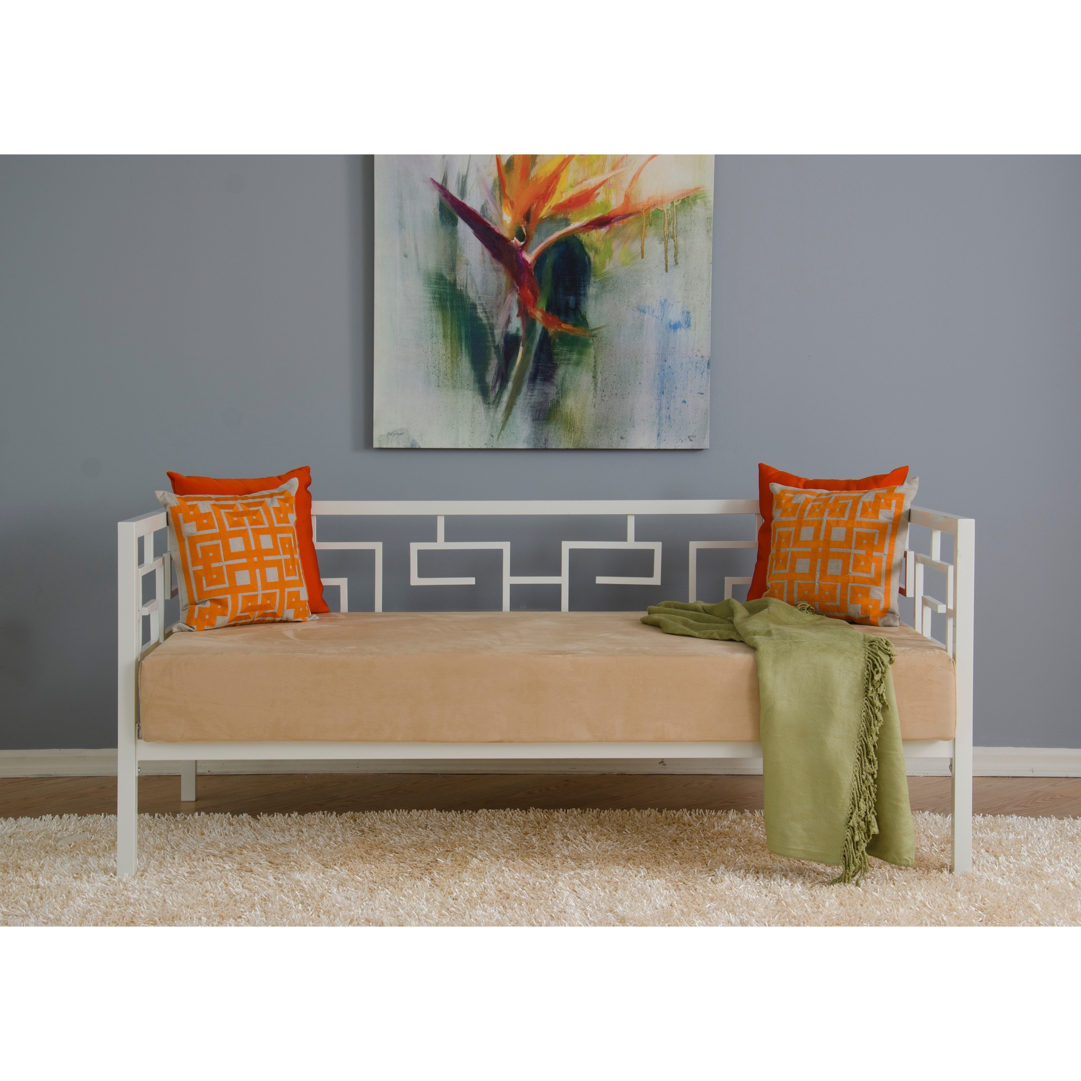 Greek Key Marshmallow White Twin Daybed  Free Shipping Today