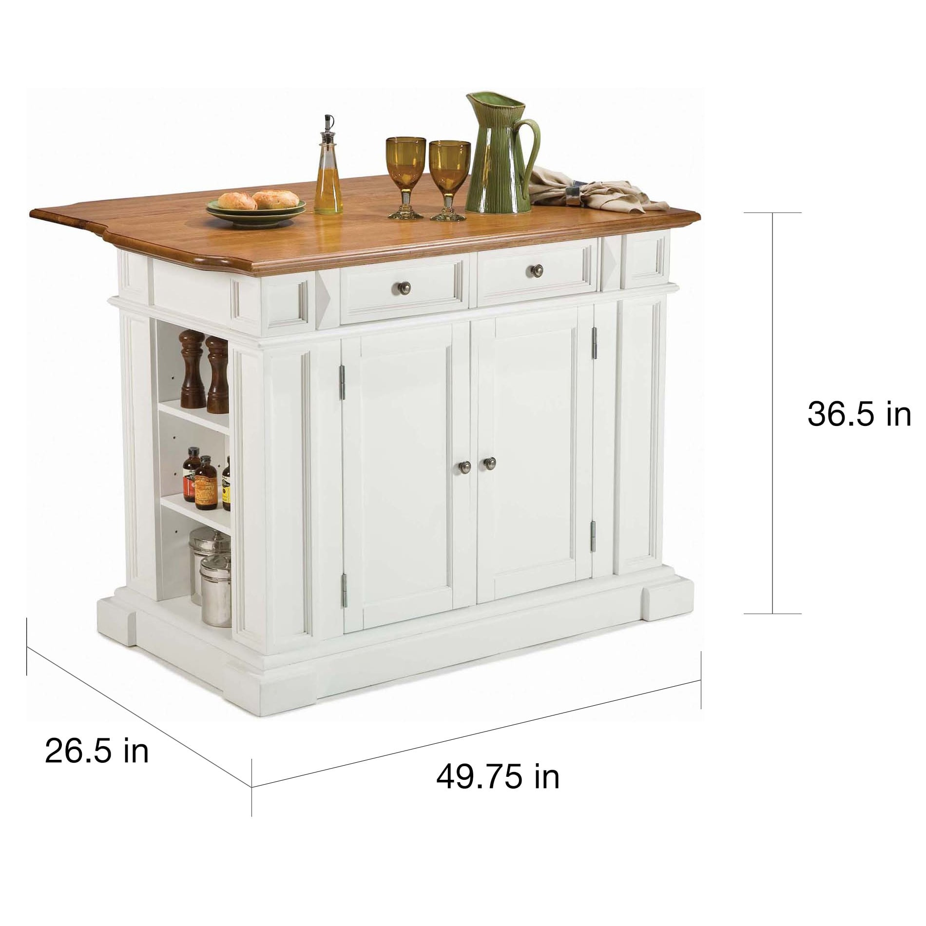 Gracewood Hollow Capote Distressed Oak Kitchen Island by Home Styles ...