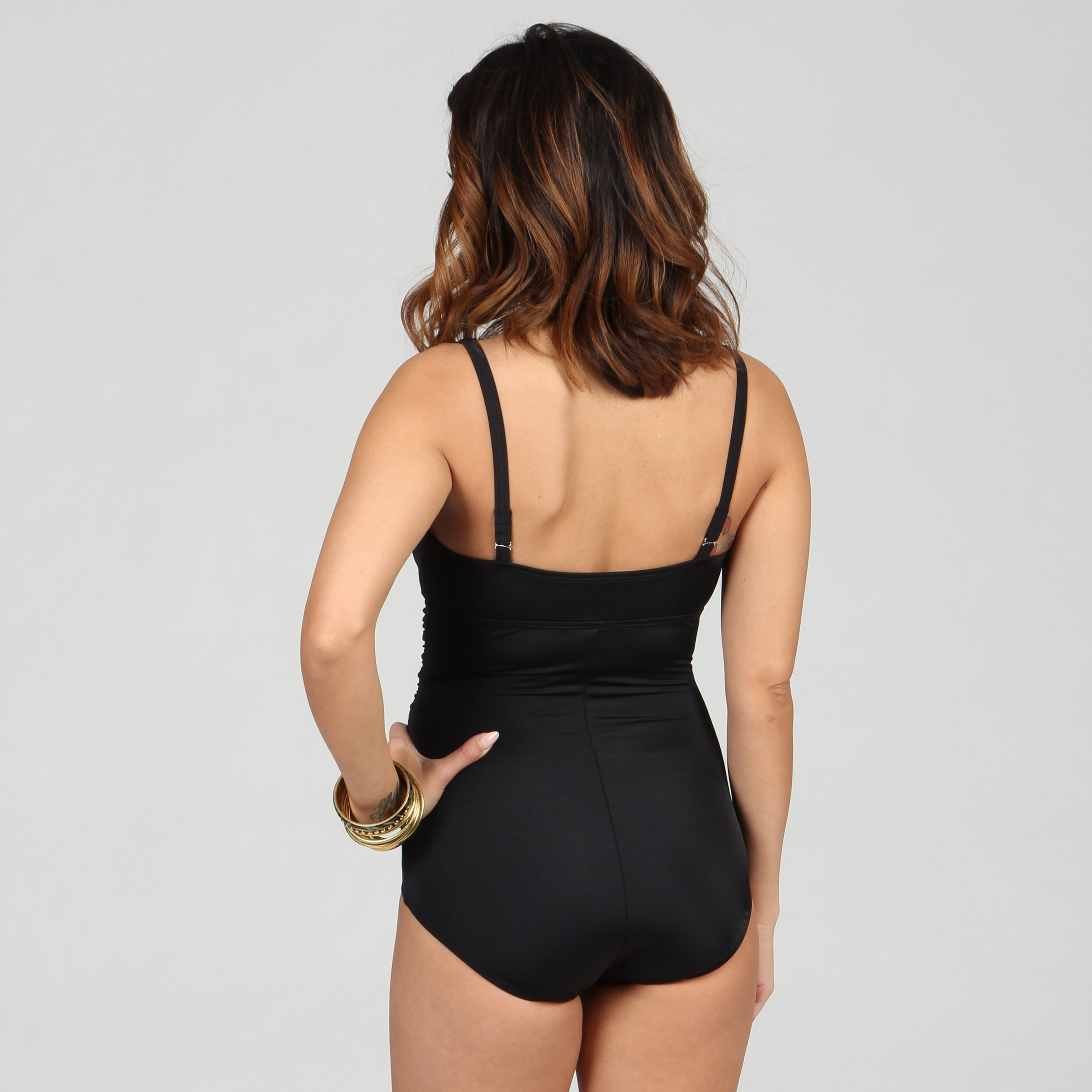 691eb502ccc Shop Jantzen Classic Black Shirred One-piece Swimsuit with Deep V-neck -  Free Shipping Today - Overstock - 6625348