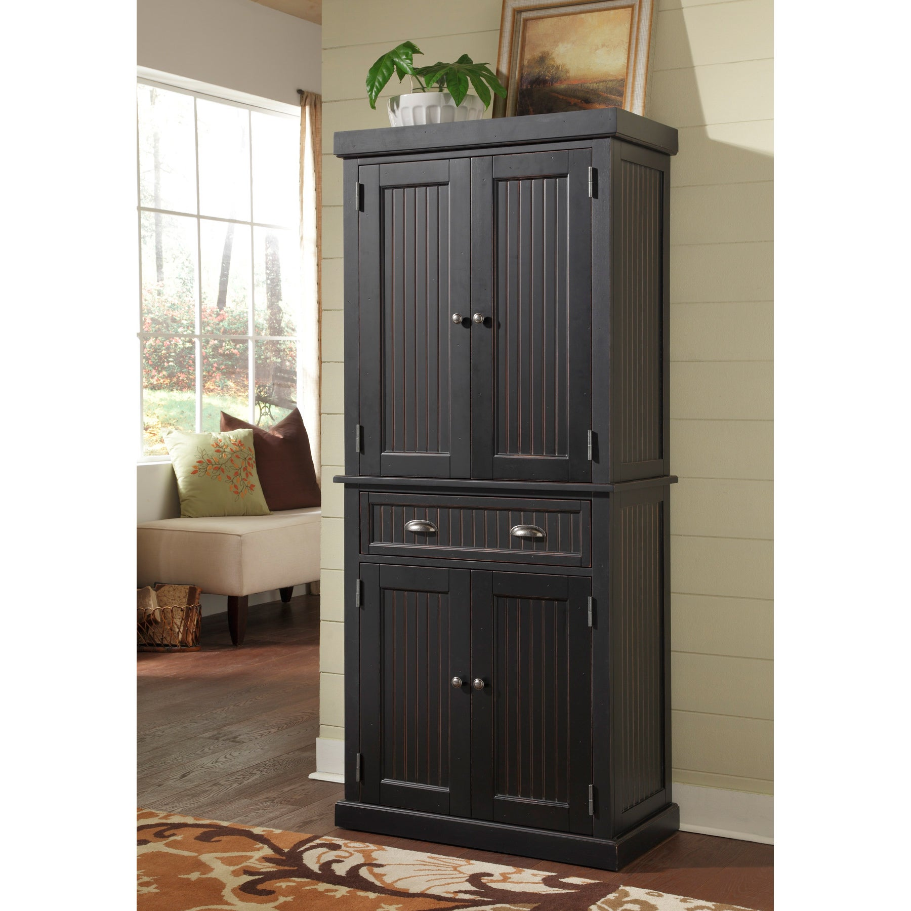 Shop nantucket black distressed finish pantry by home styles free shipping today overstock com 20882265