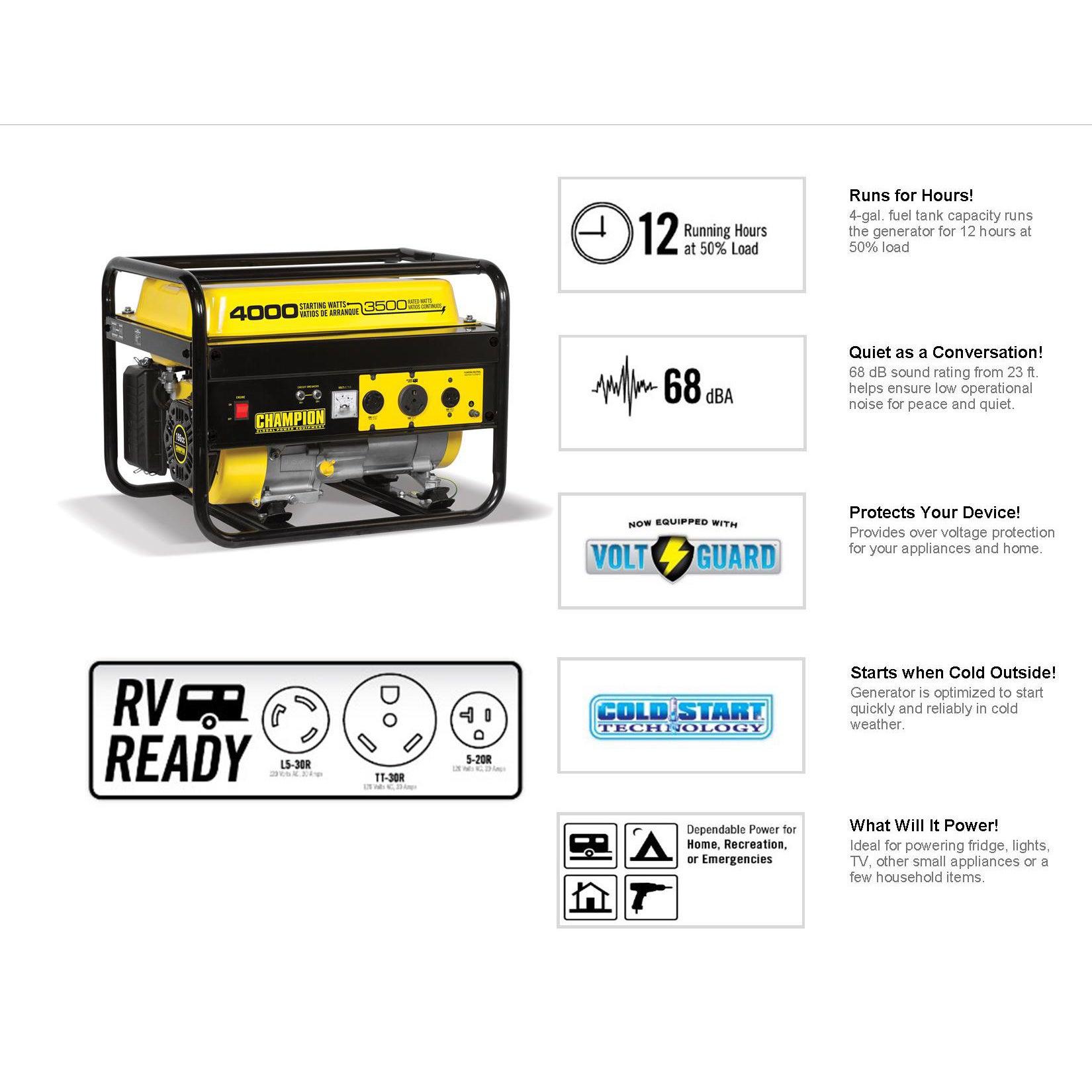 Champion 3500 Watt RV Ready Portable Generator CARB Free