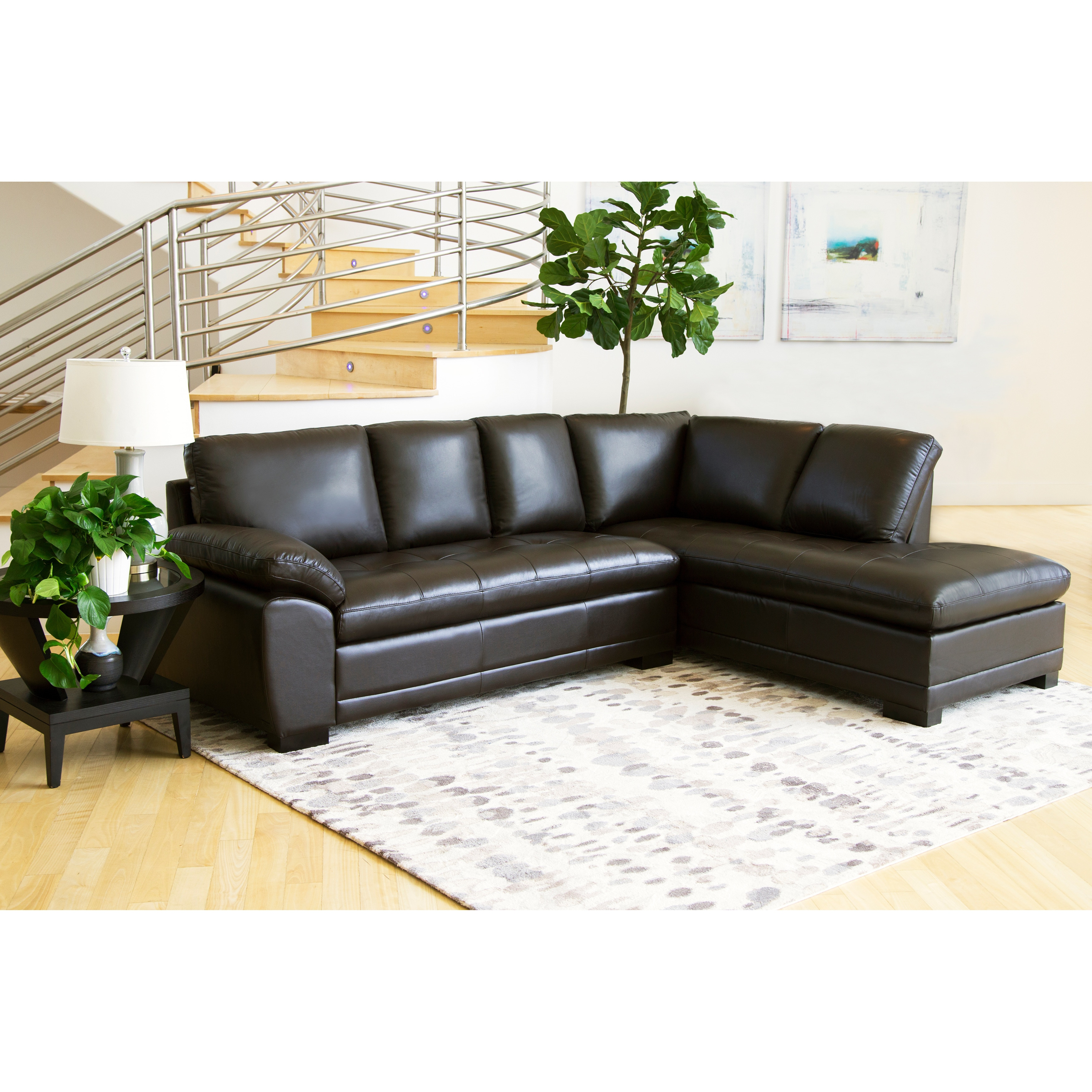 Charmant Abbyson Devonshire Leather Tufted Sectional