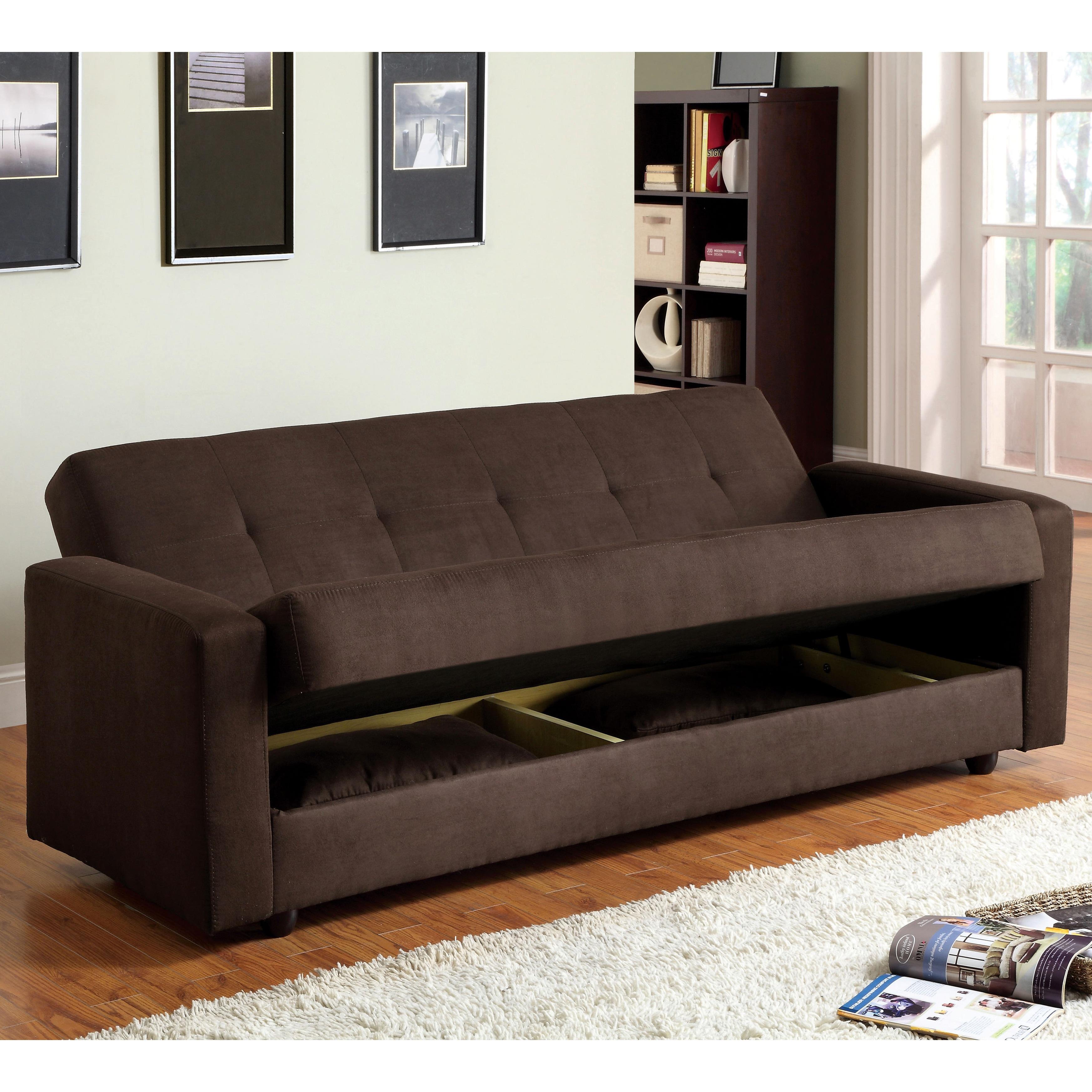 Furniture of America Cozy Microfiber Futon Sofa Bed with Storage