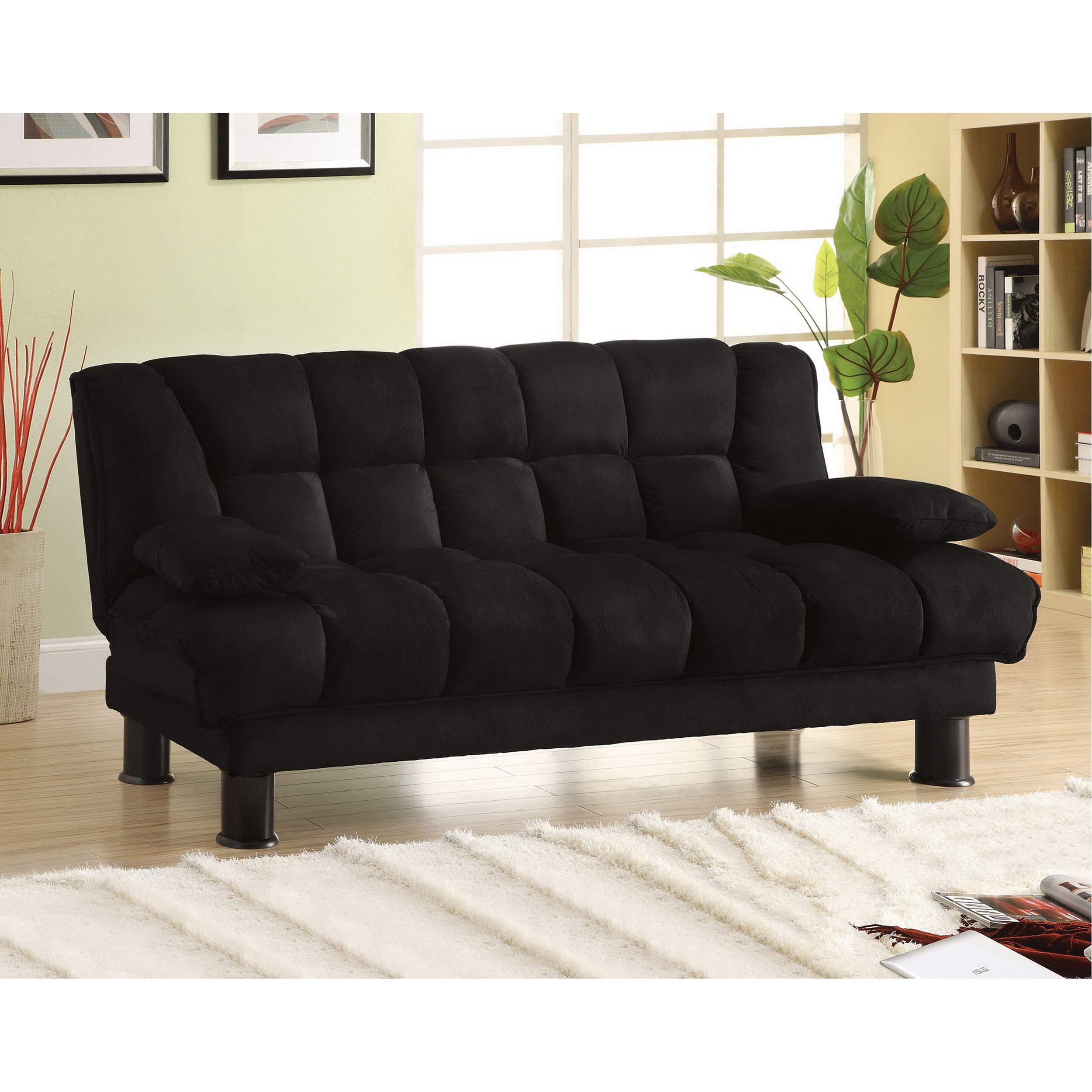 Furniture of America Black Elephant Skin Microfiber Futon Sofabed