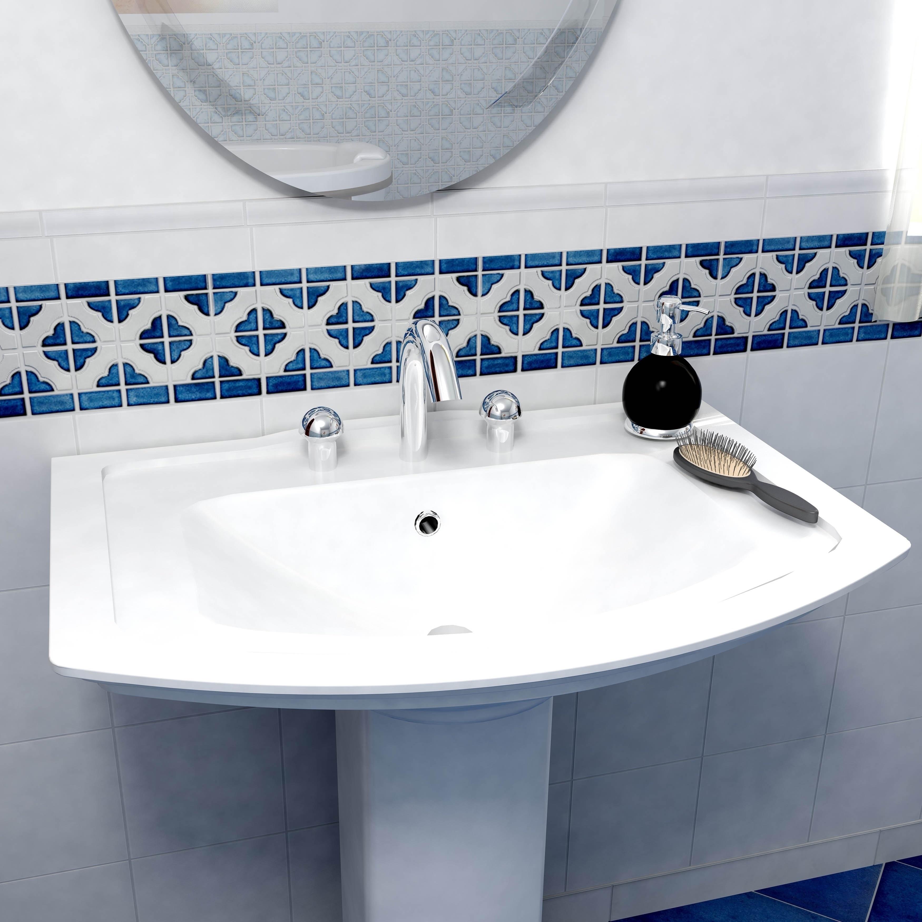 SomerTile 5.75x11.75-inch Castle Cobalt with White Border Porcelain ...