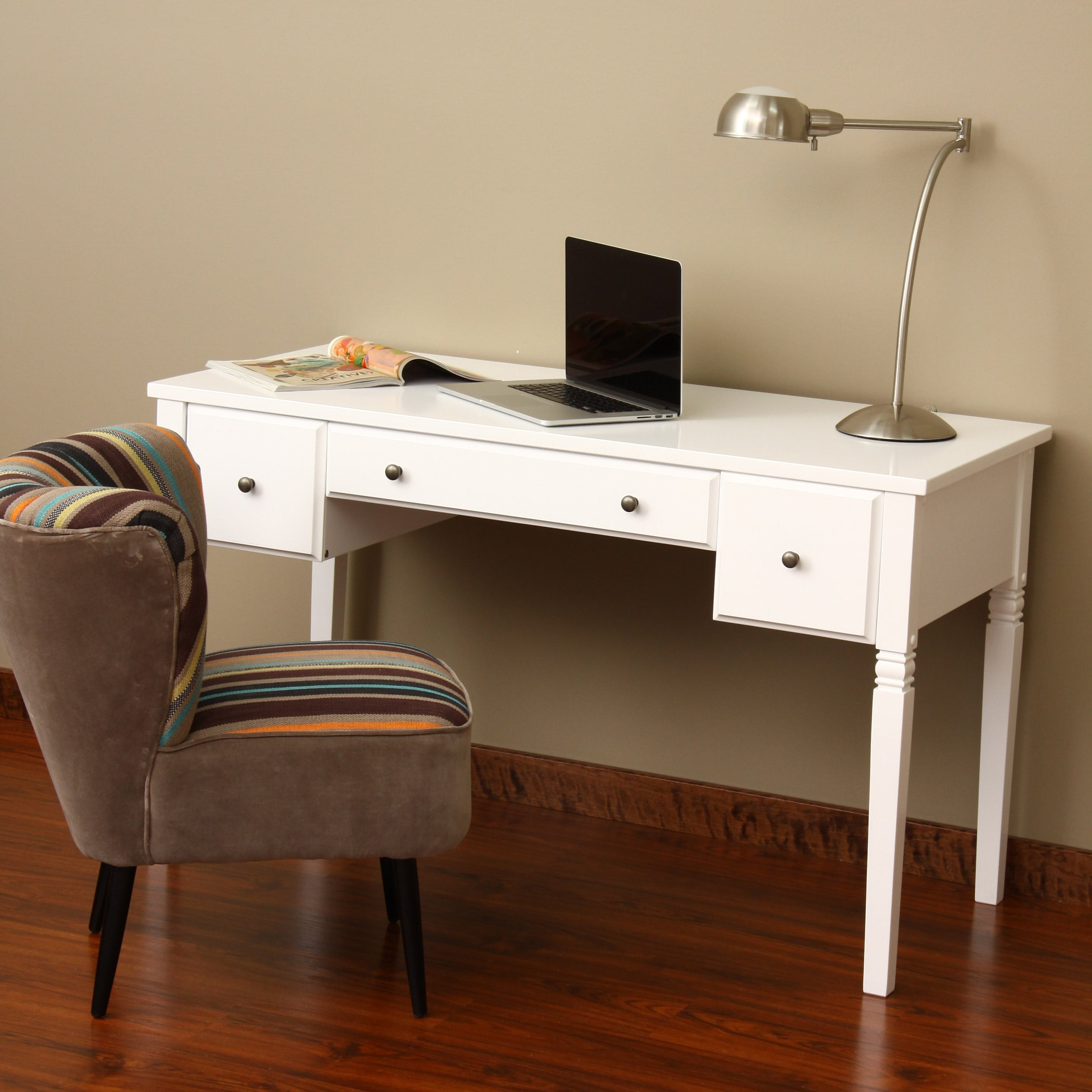 Cami White 3-drawer Writing Desk - Free Shipping Today - Overstock.com -  14204646