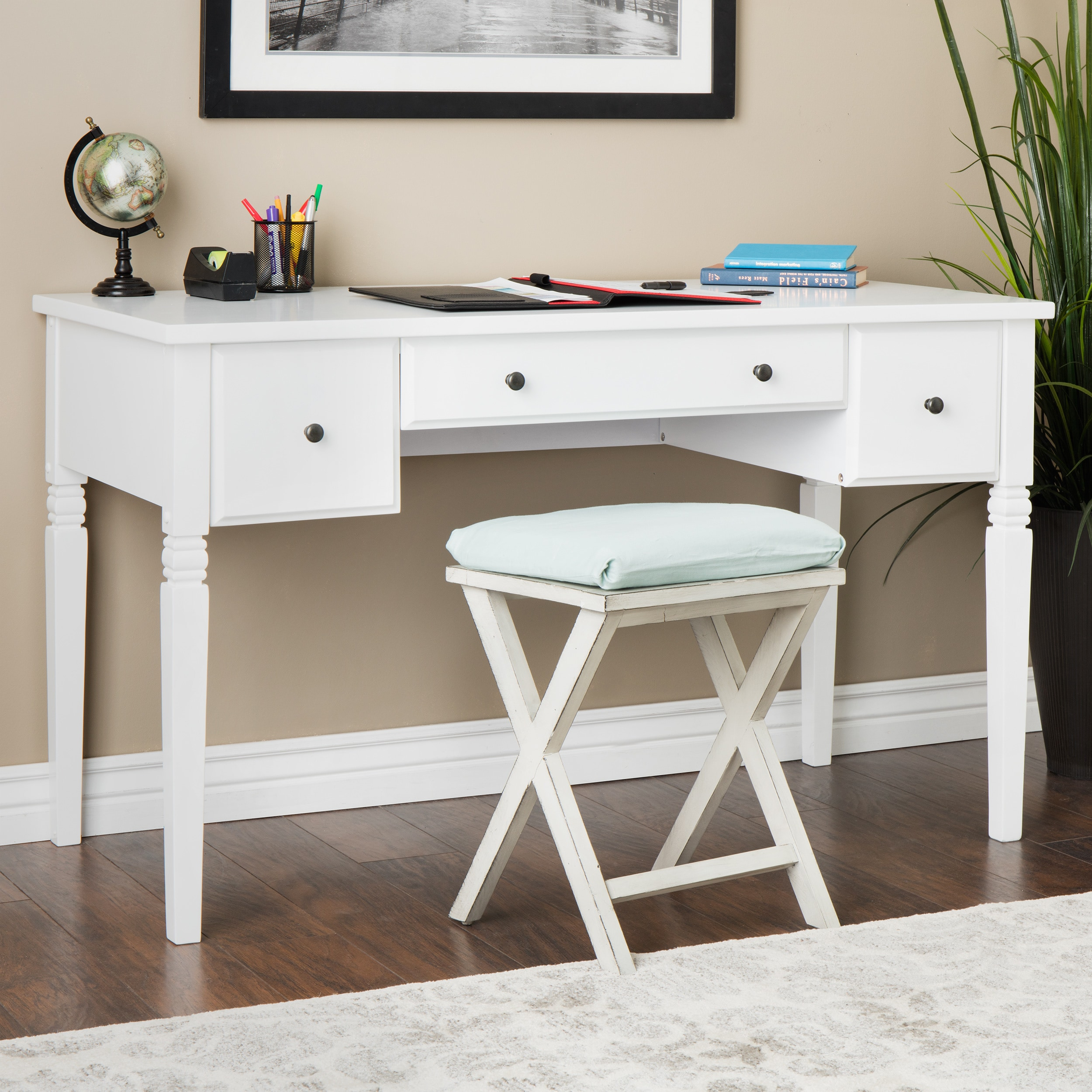 Maison Rouge Cami White  Drawer Writing Desk Free Shipping Today Overstock Com