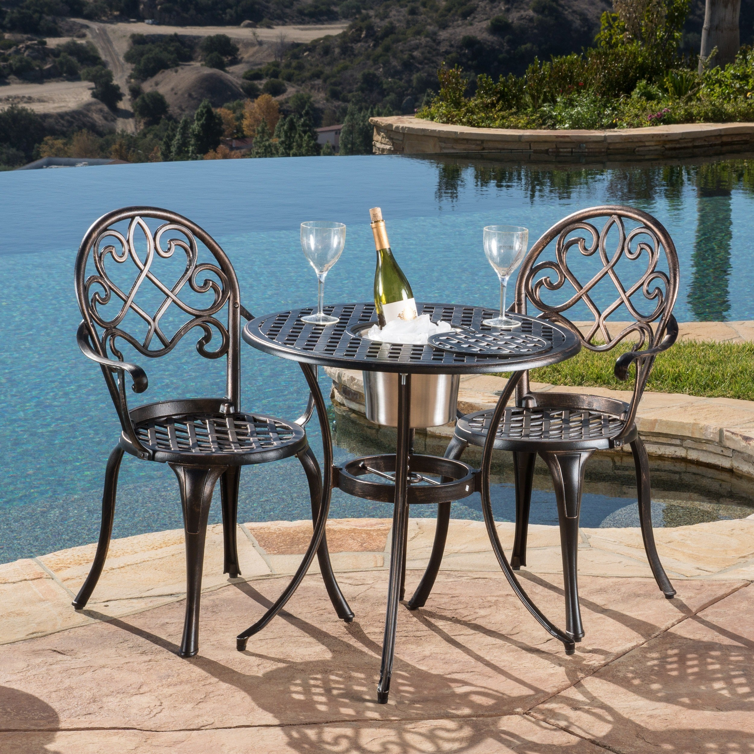 Angeles Cast Aluminum Outdoor Bistro Furniture Set With Ice Bucket By Christopher Knight Home On Free Shipping Today 6641686