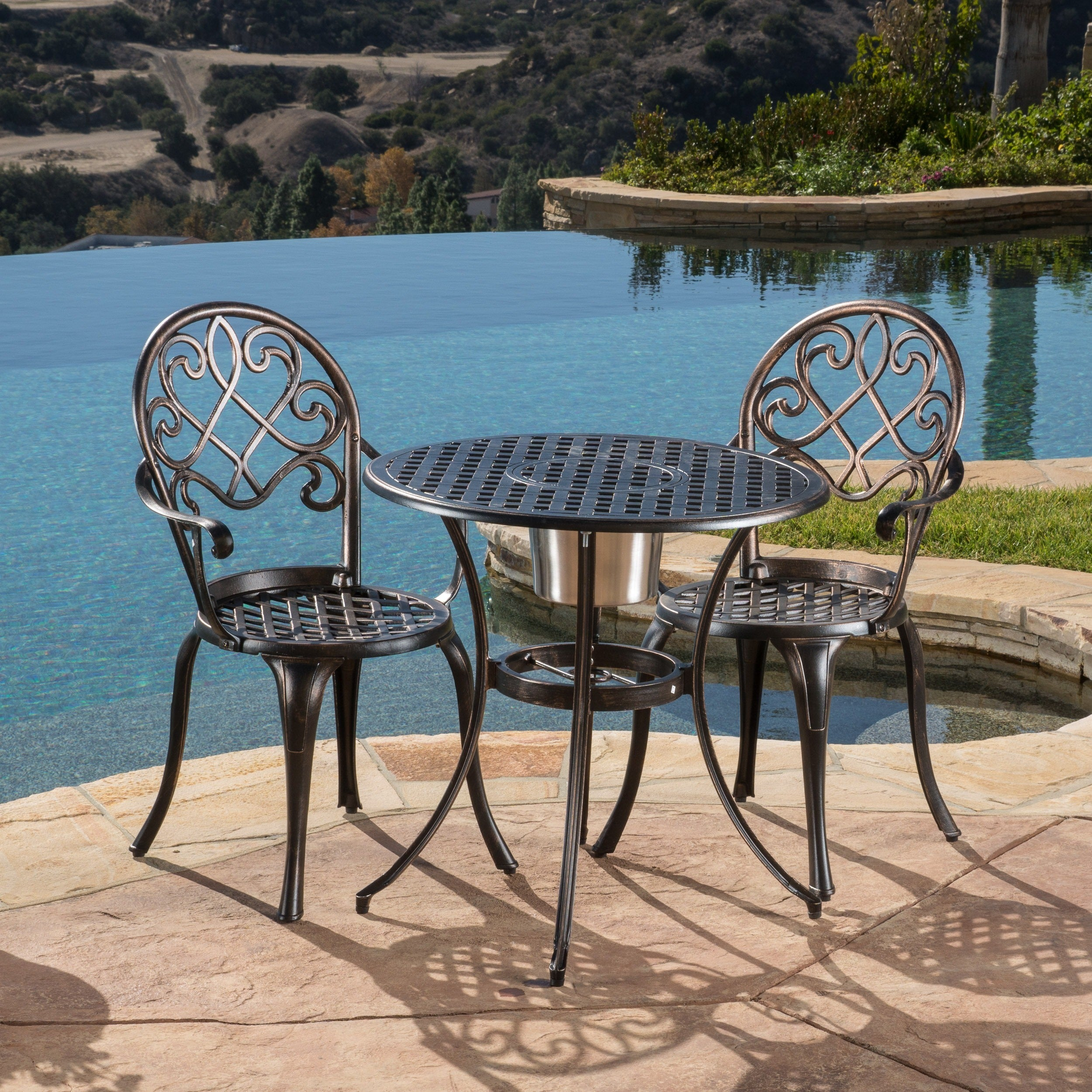 Exceptionnel Shop Angeles Cast Aluminum Outdoor Bistro Furniture Set With Ice Bucket By  Christopher Knight Home   On Sale   Free Shipping Today   Overstock    6641686