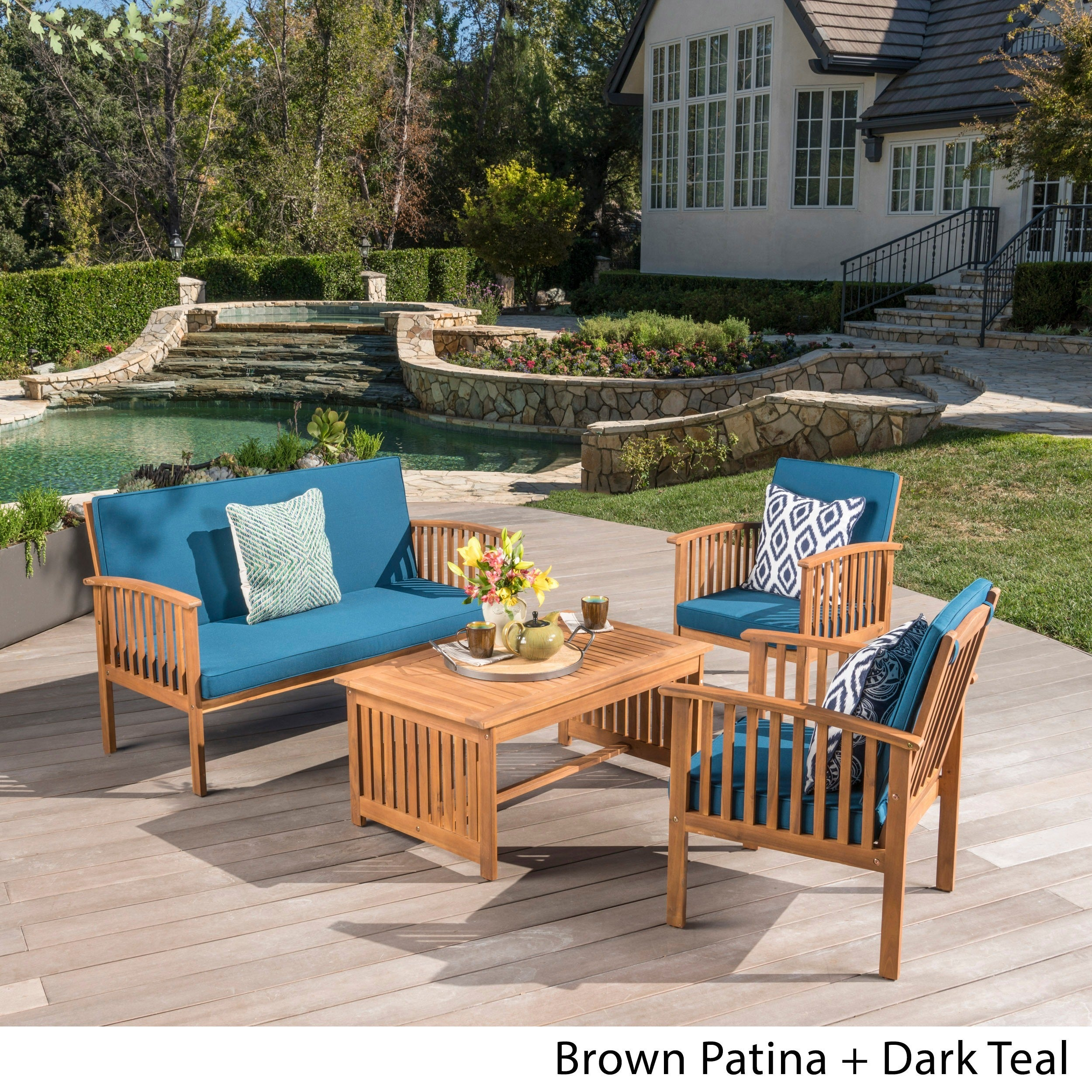 Shop Carolina 4 Piece Outdoor Acacia Sofa Set By Christopher Knight Home    Free Shipping Today   Overstock.com   6641837
