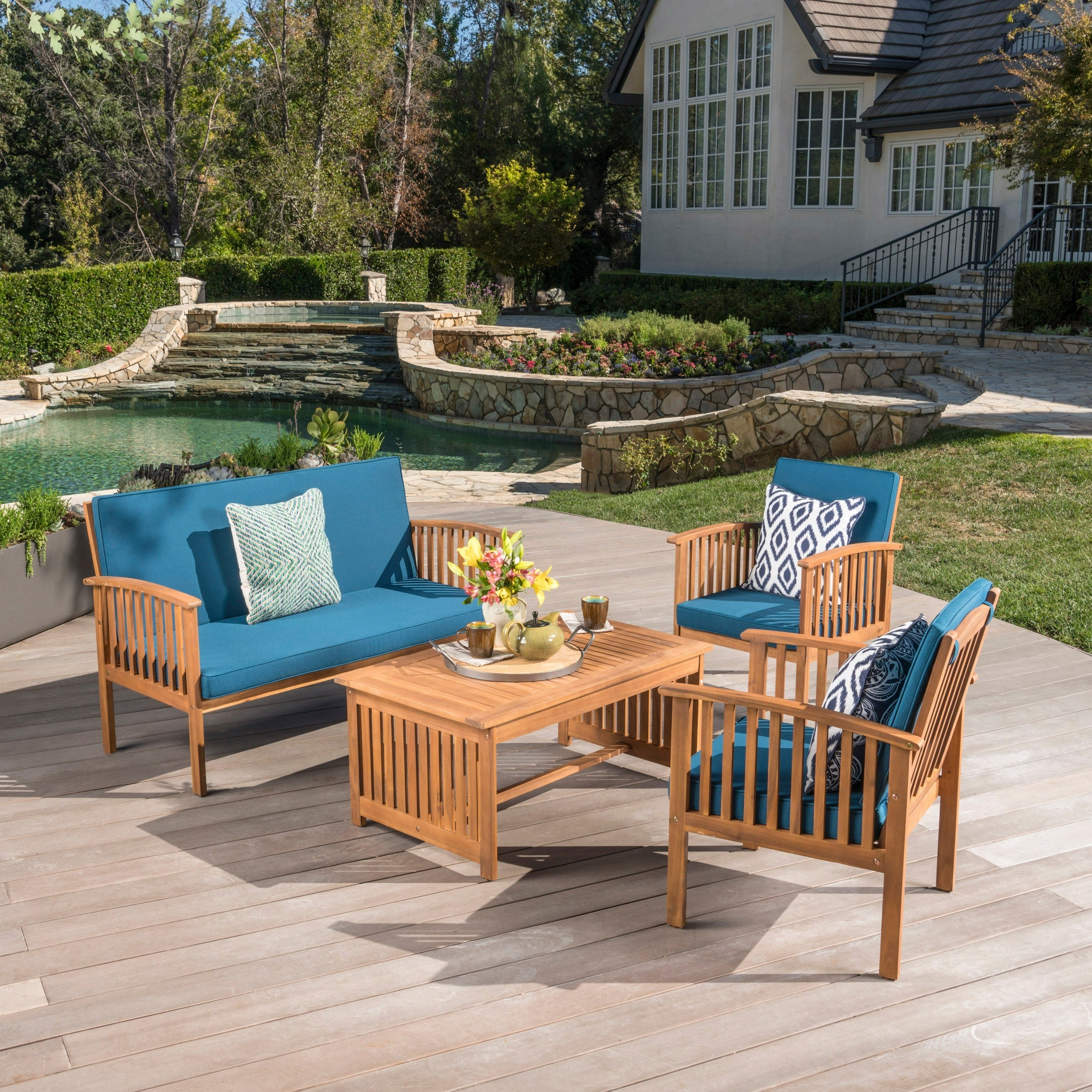 Shop Carolina 4 Piece Outdoor Acacia Sofa Set By Christopher Knight Home    On Sale   Free Shipping Today   Overstock.com   6641837