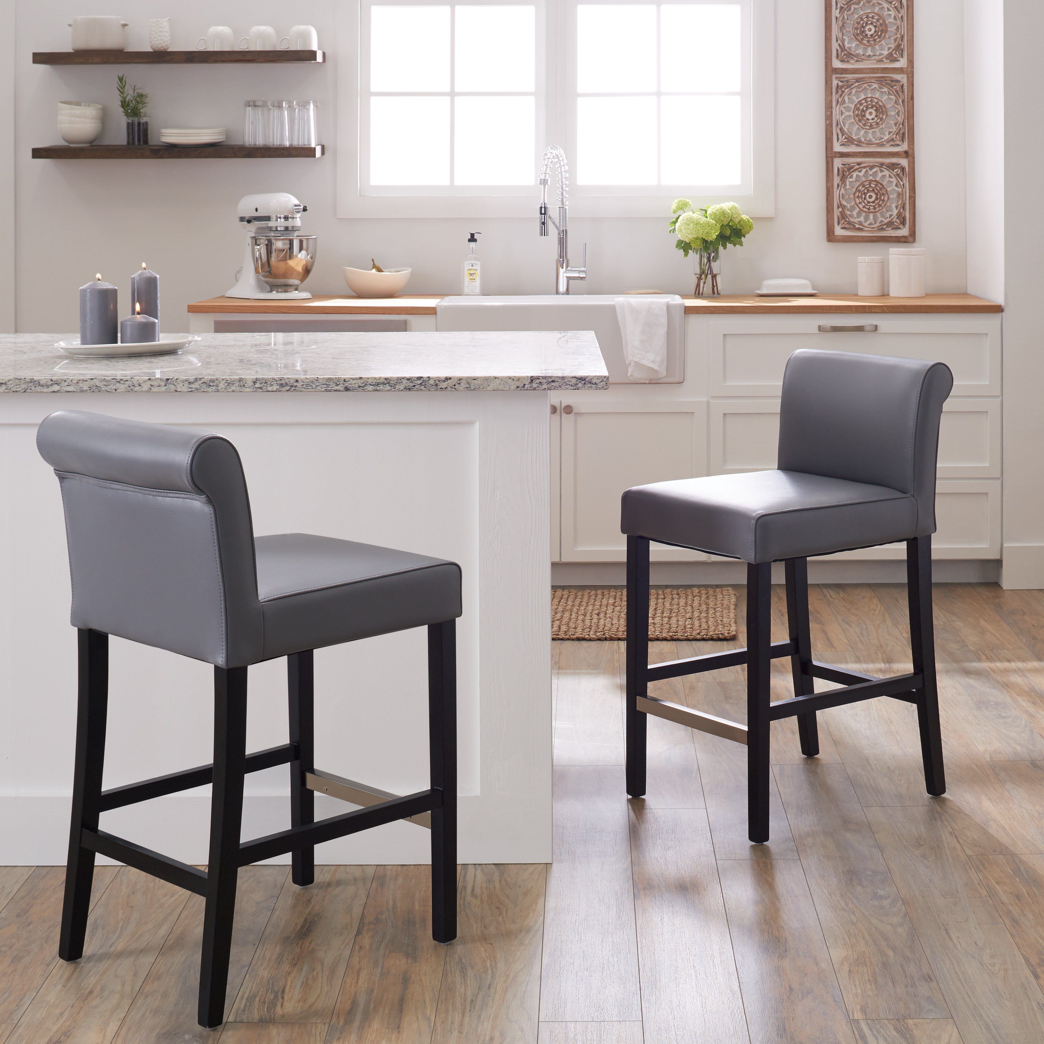 gray counter stools. Shop Jasper Laine Cosmopolitan Grey Leather Counter Stool (Set Of 2) - On Sale Free Shipping Today Overstock.com 6649610 Gray Stools