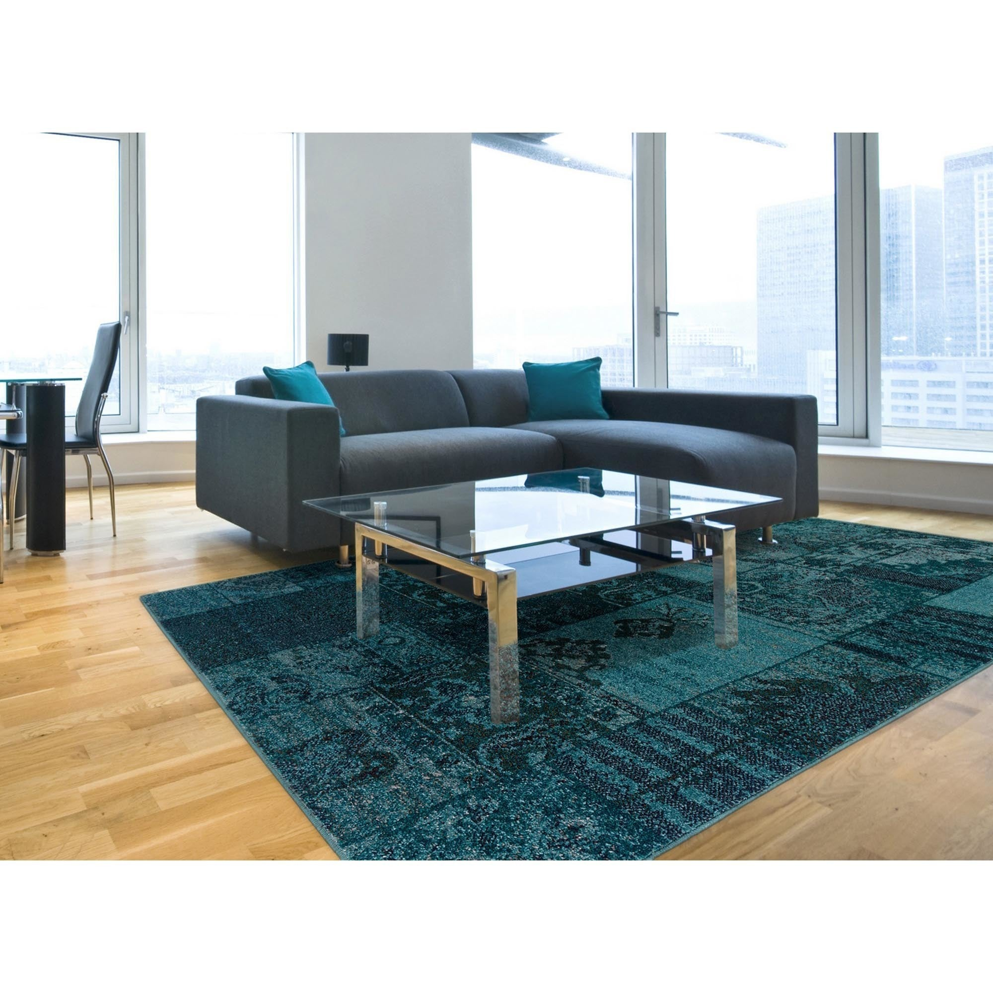 Patchwork Over-dyed Teal/ Gray Area Rug (7\u002710\