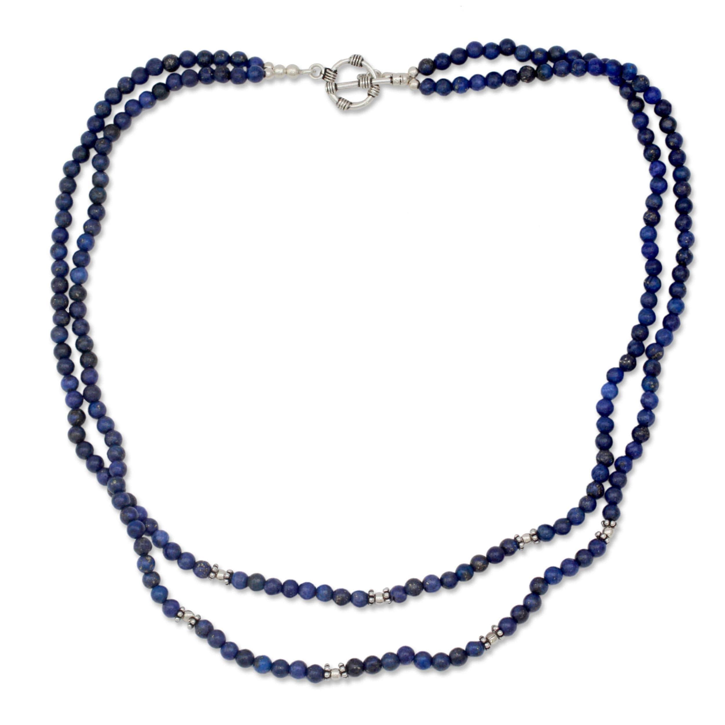 Agra Azure Double Strand Polished Blue Lapis Lazuli Gemstone Beads ...