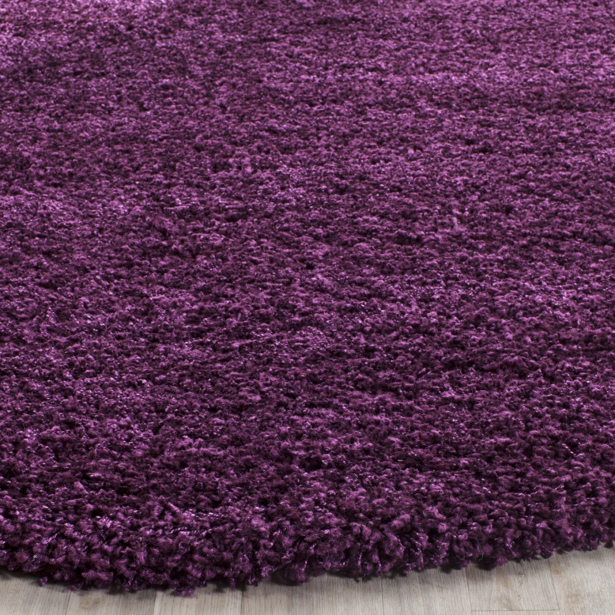 Round Purple Fluffy Rug Best 2017