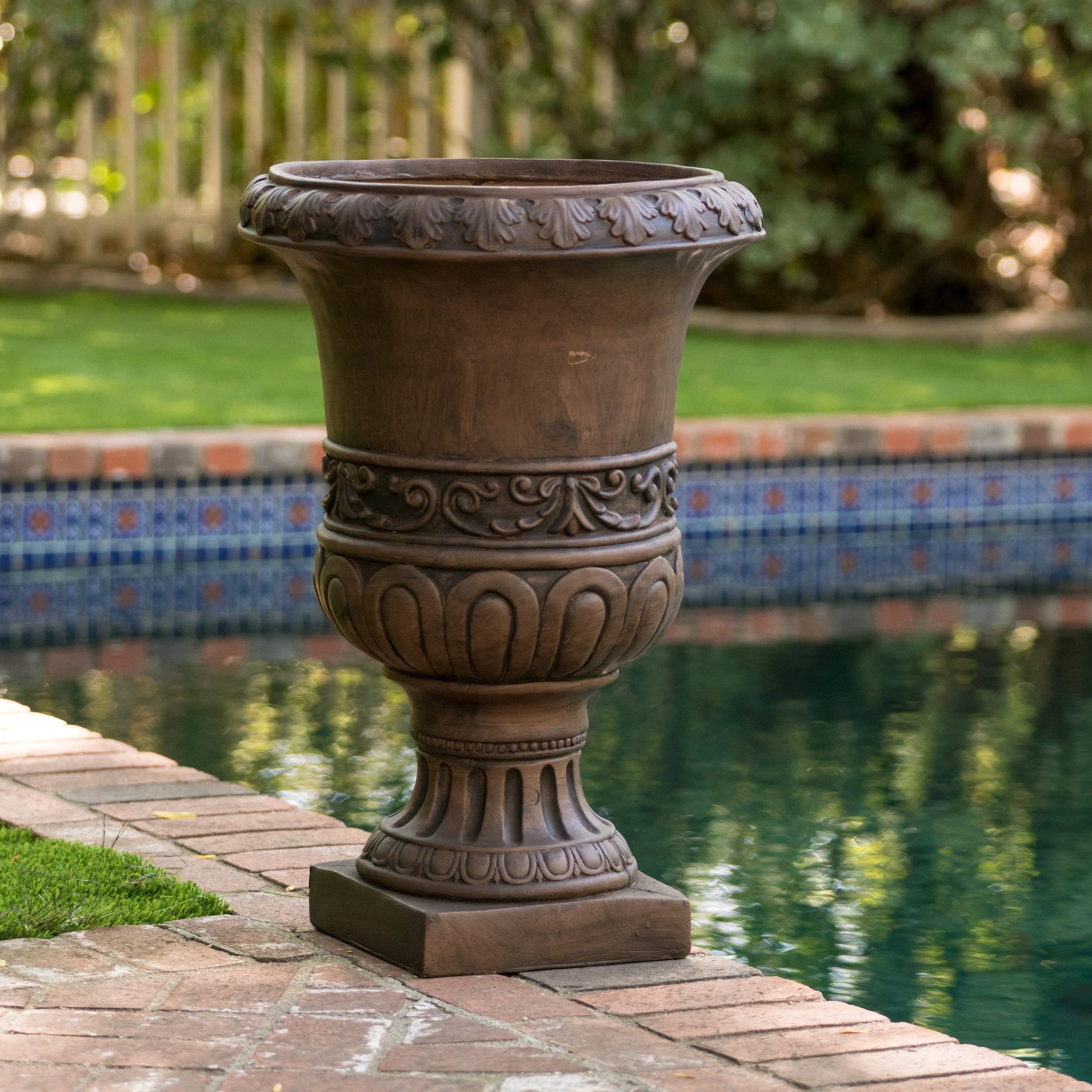 Shop Brown Turkish 26-inch Urn Planter by Christopher Knight Home ...