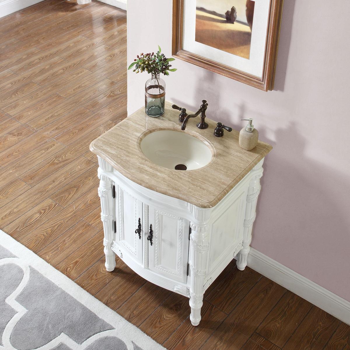 Shop Silkroad Exclusive 26-inch Stone Counter Top Bathroom Vanity ...