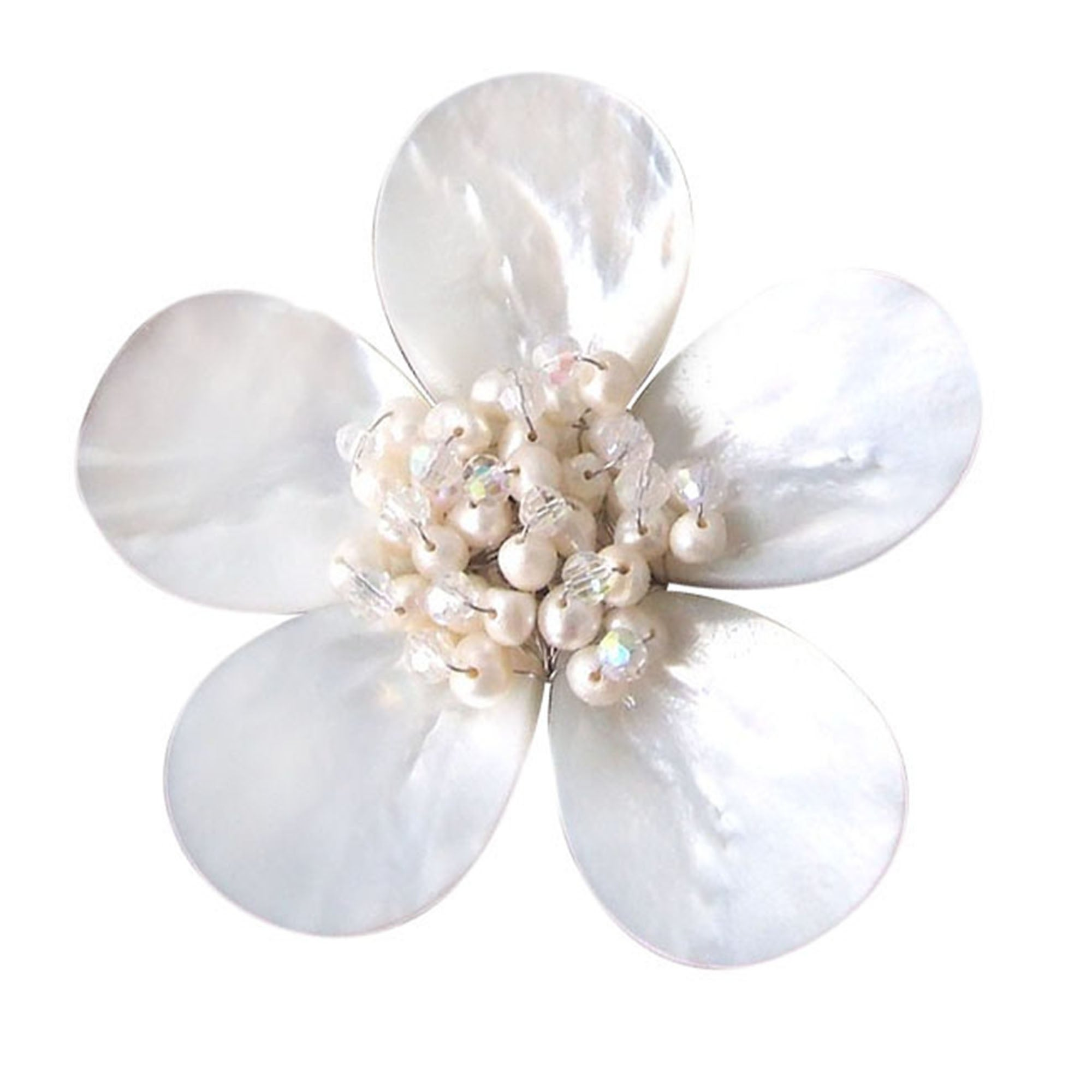 Handmade White Plumeria Mother Of Pearl Freshwater Pearl Floral Pin