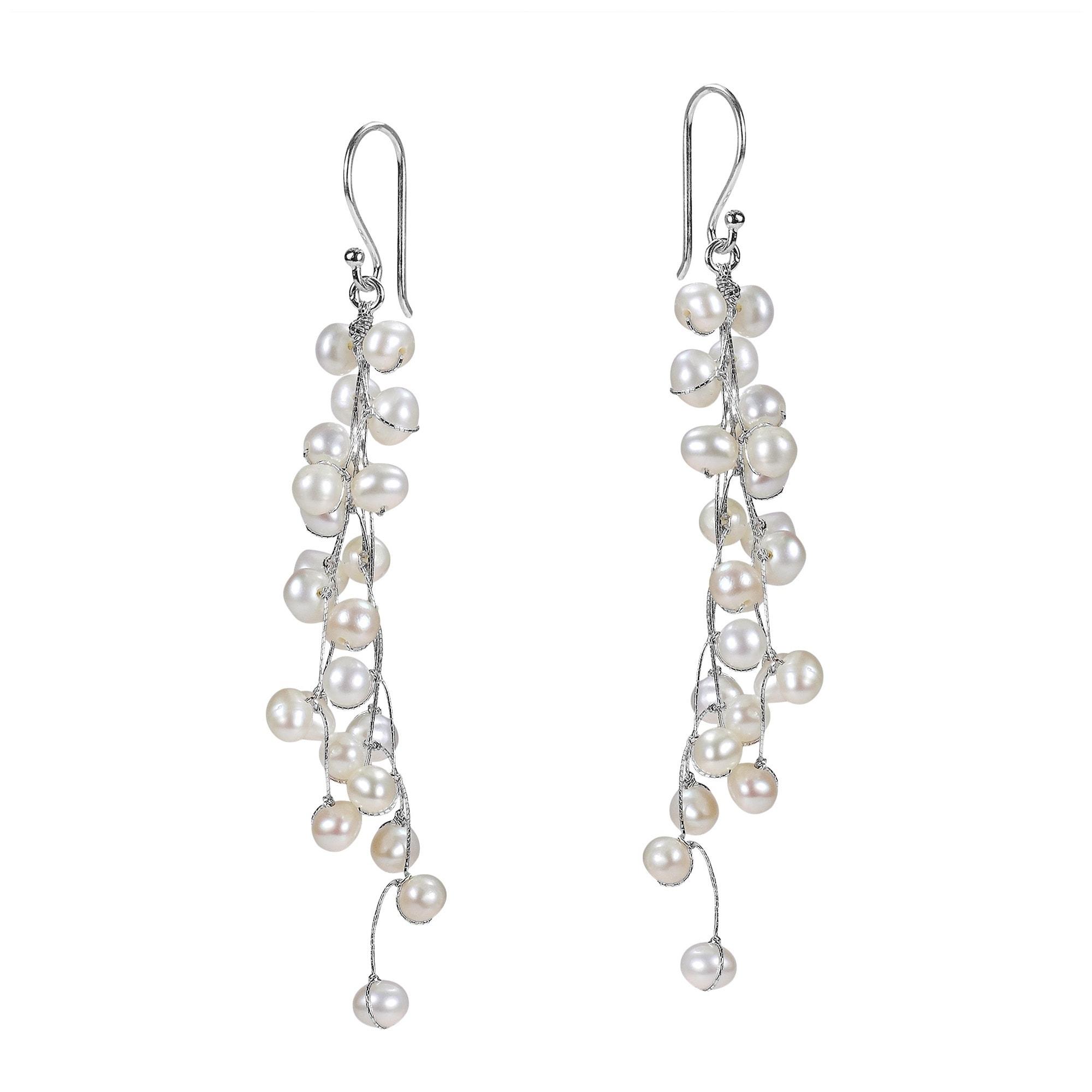 Classy Ruffles Freshwater White Pearl Handmade Earrings (Thailand ...