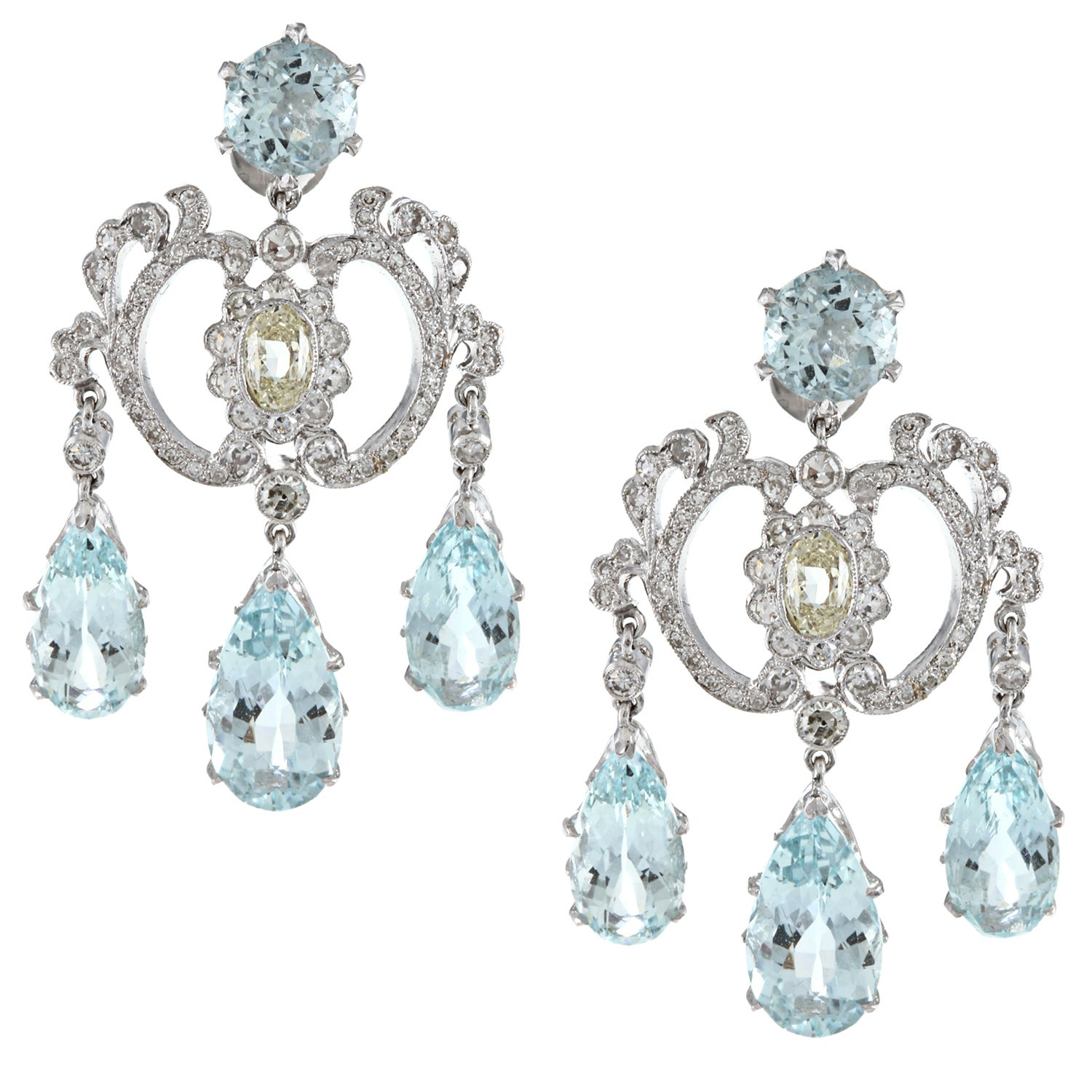Pre Owned 18k White Gold 2ct Tdw Aquamarine Chandelier Earrings M N Si1 Si2 On Free Shipping Today 6661103
