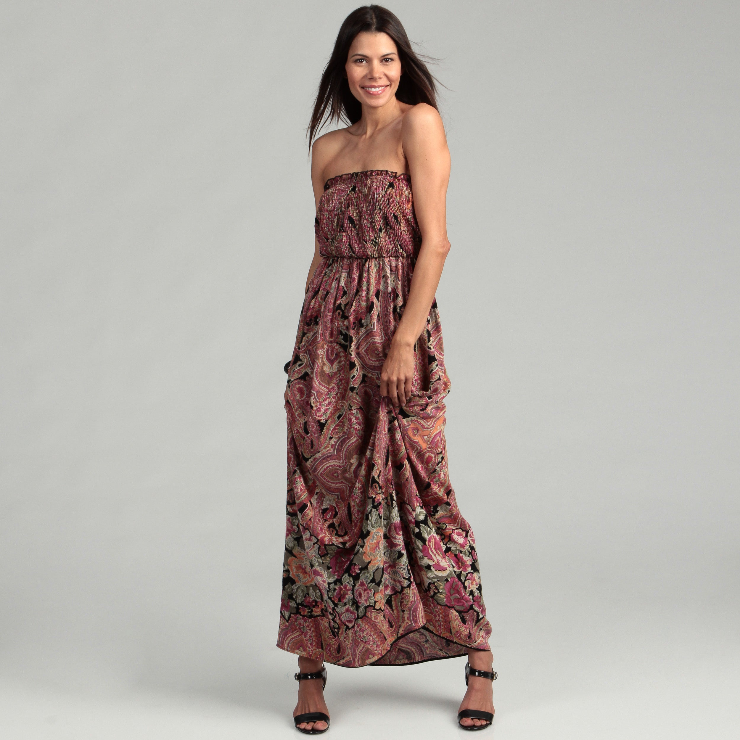 Shop Lola P Women s Coral Smocked Maxi Dress - Free Shipping On Orders Over   45 - Overstock.com - 6663912 a5a1ed6d9