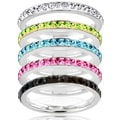 Stainless Steel Colored Cubic Zirconia Stackable Eternity Band