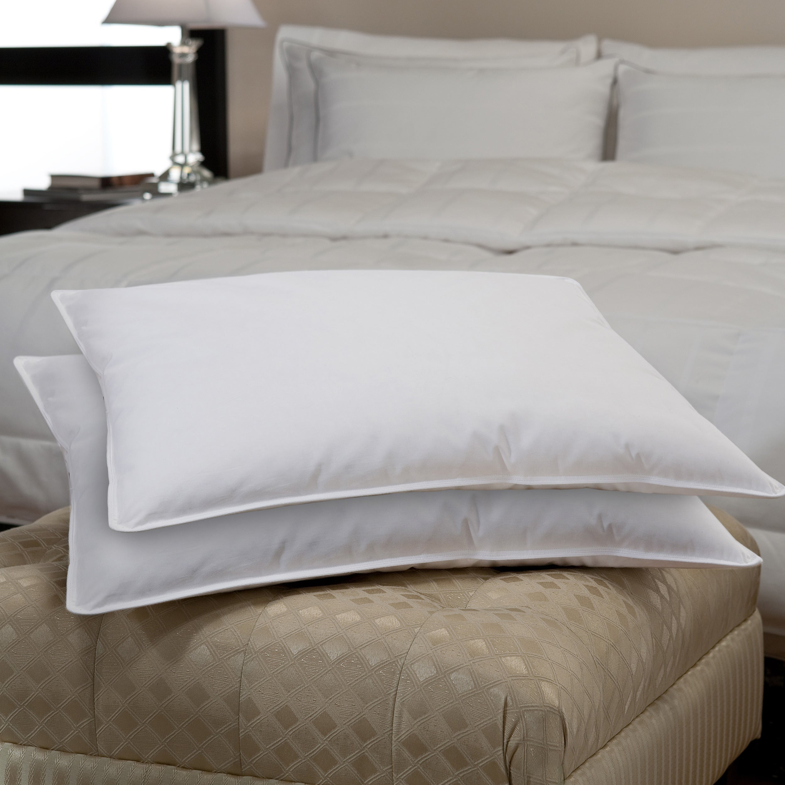 medium goose queen cotton size bed cover firm feather pillow pillows egyptian itm
