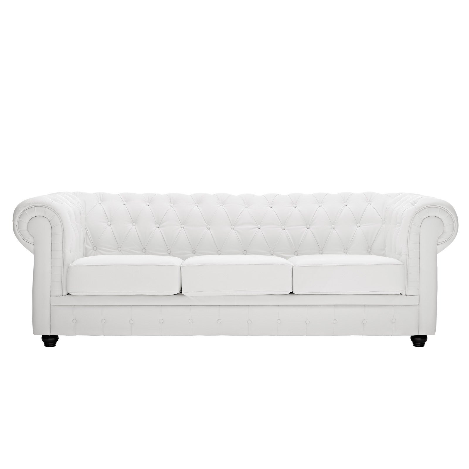 Shop White Leather Chesterfield Sofa   Free Shipping Today   Overstock.com    6670886