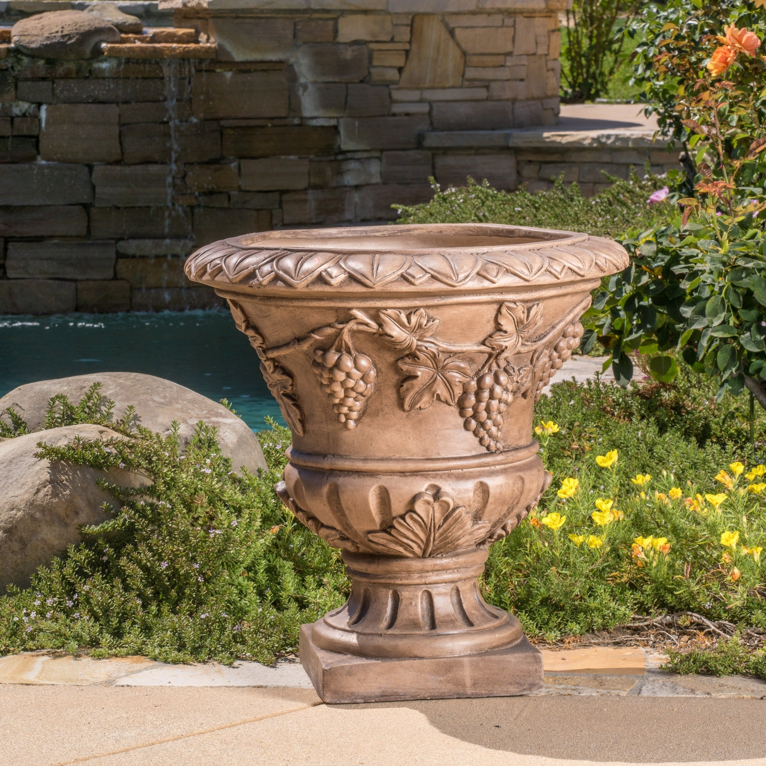 stone flower garden urn cast antique decor ornate pin pack plant planter low pot