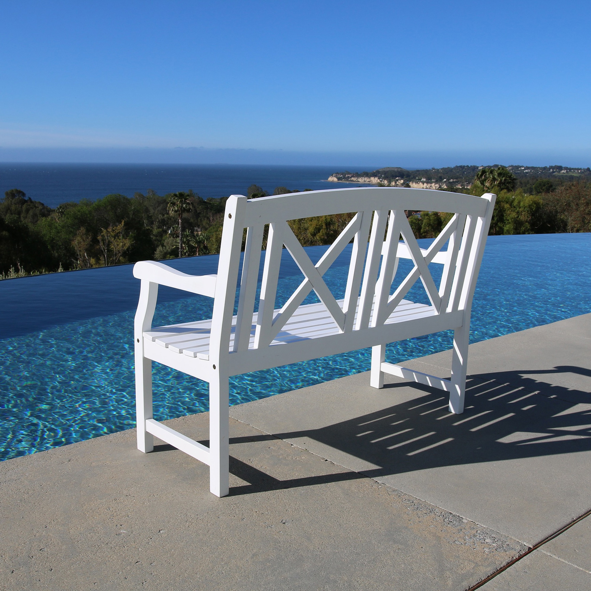 Shop Bradley Outdoor White Wooden Bench - Free Shipping Today ...