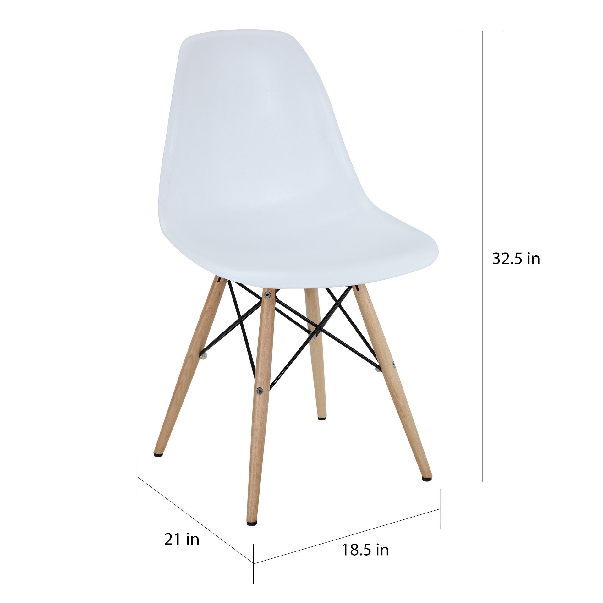 White Plastic Dining Chair With Wooden Base