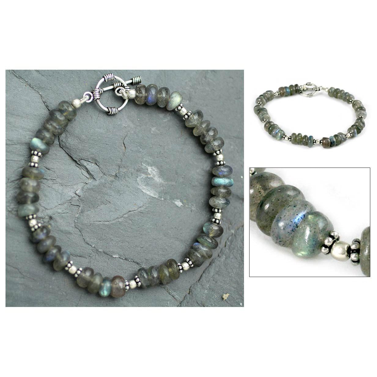 Handmade Sterling Silver Indian Rainbow Labradorite Bracelet India On Free Shipping Today 6676737