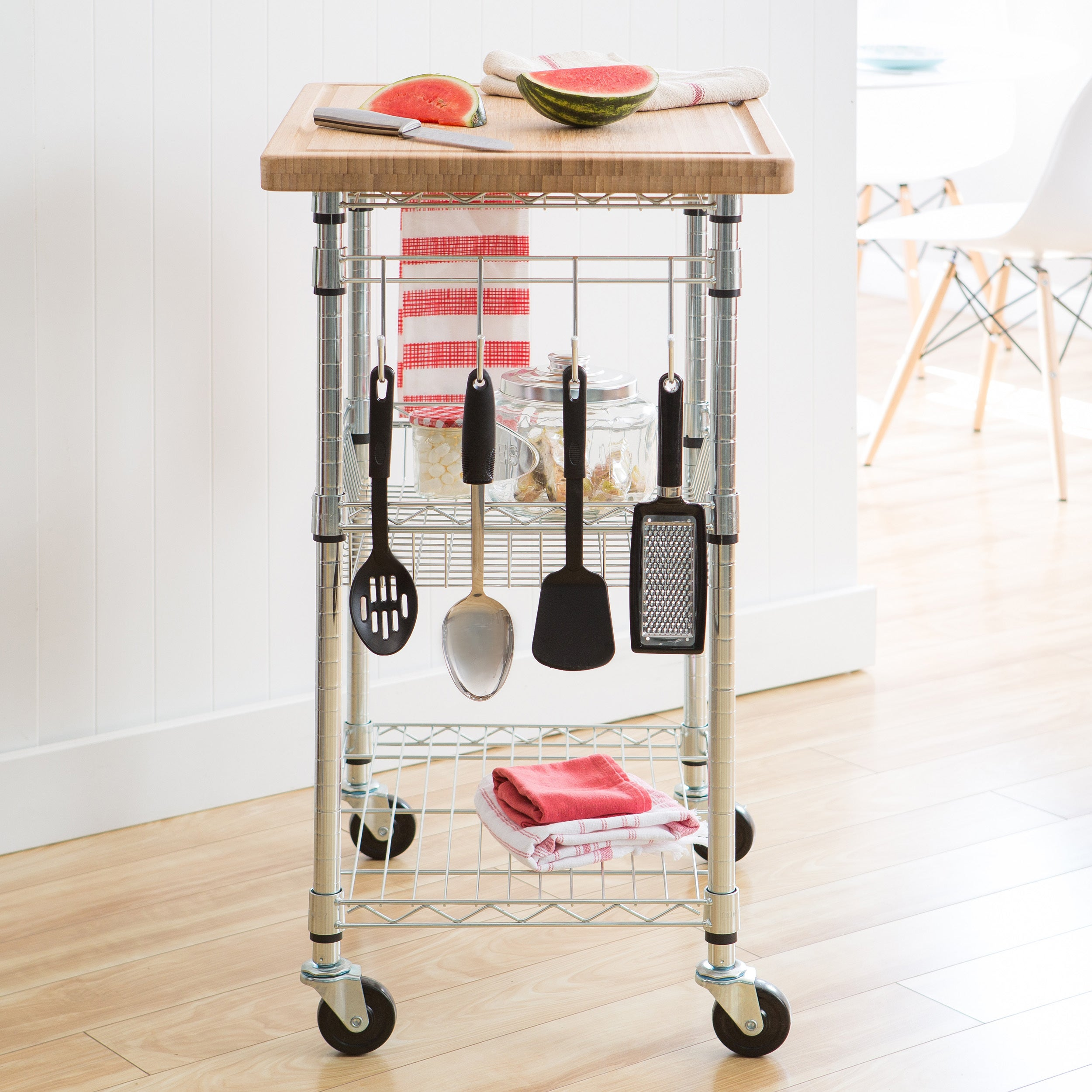 Trinity EcoStorage Chrome Bamboo Top Kitchen Cart   Free Shipping Today    Overstock   14233939
