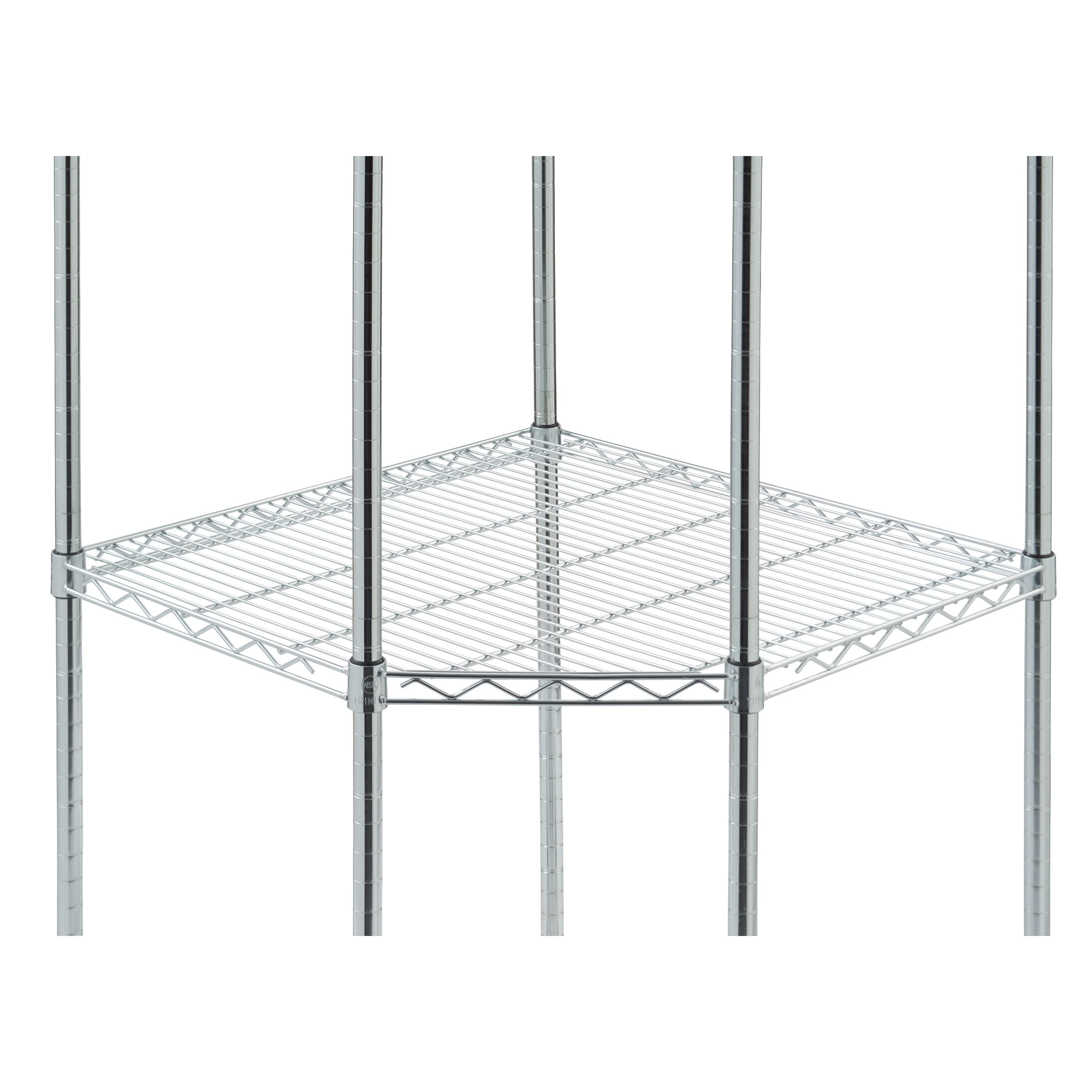 TRINITY EcoStorage 4 Tier Chrome Wire Wheeled Corner Shelving Rack   Free  Shipping Today   Overstock   14233945